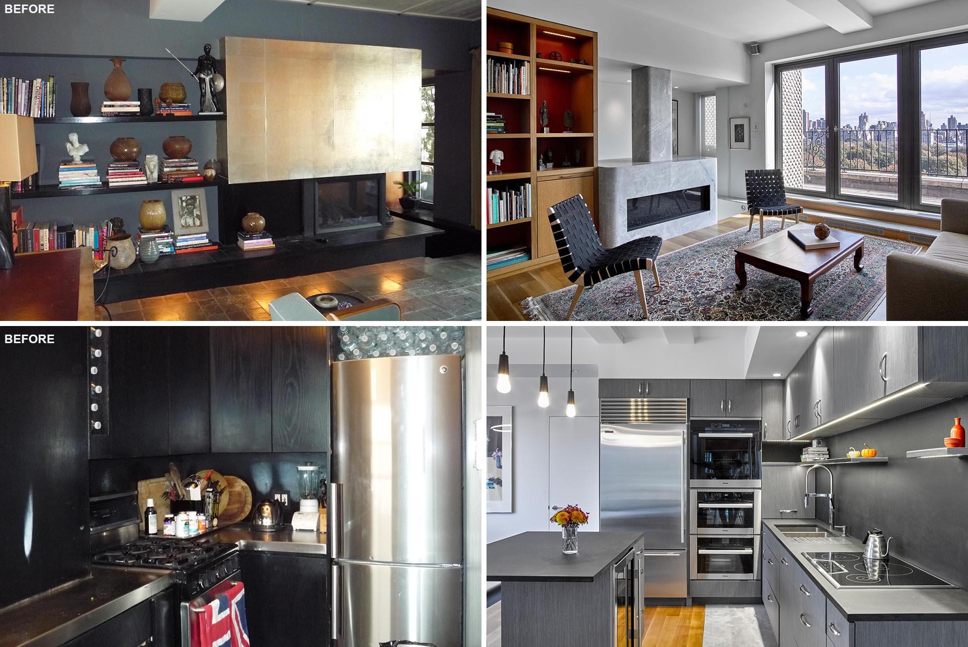 A modern remodel of a New York duplex apartment.