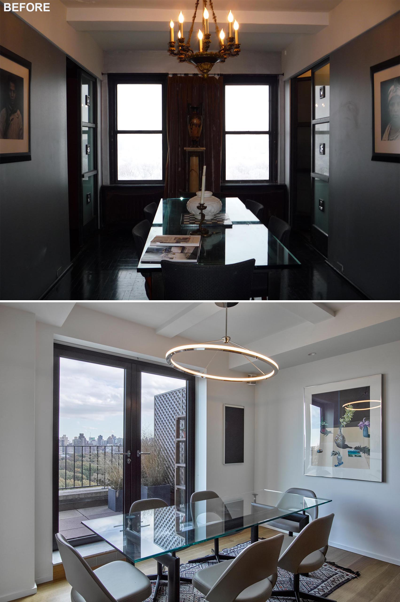 A dining room remodel transformed a dark space into a bright and open dining area.
