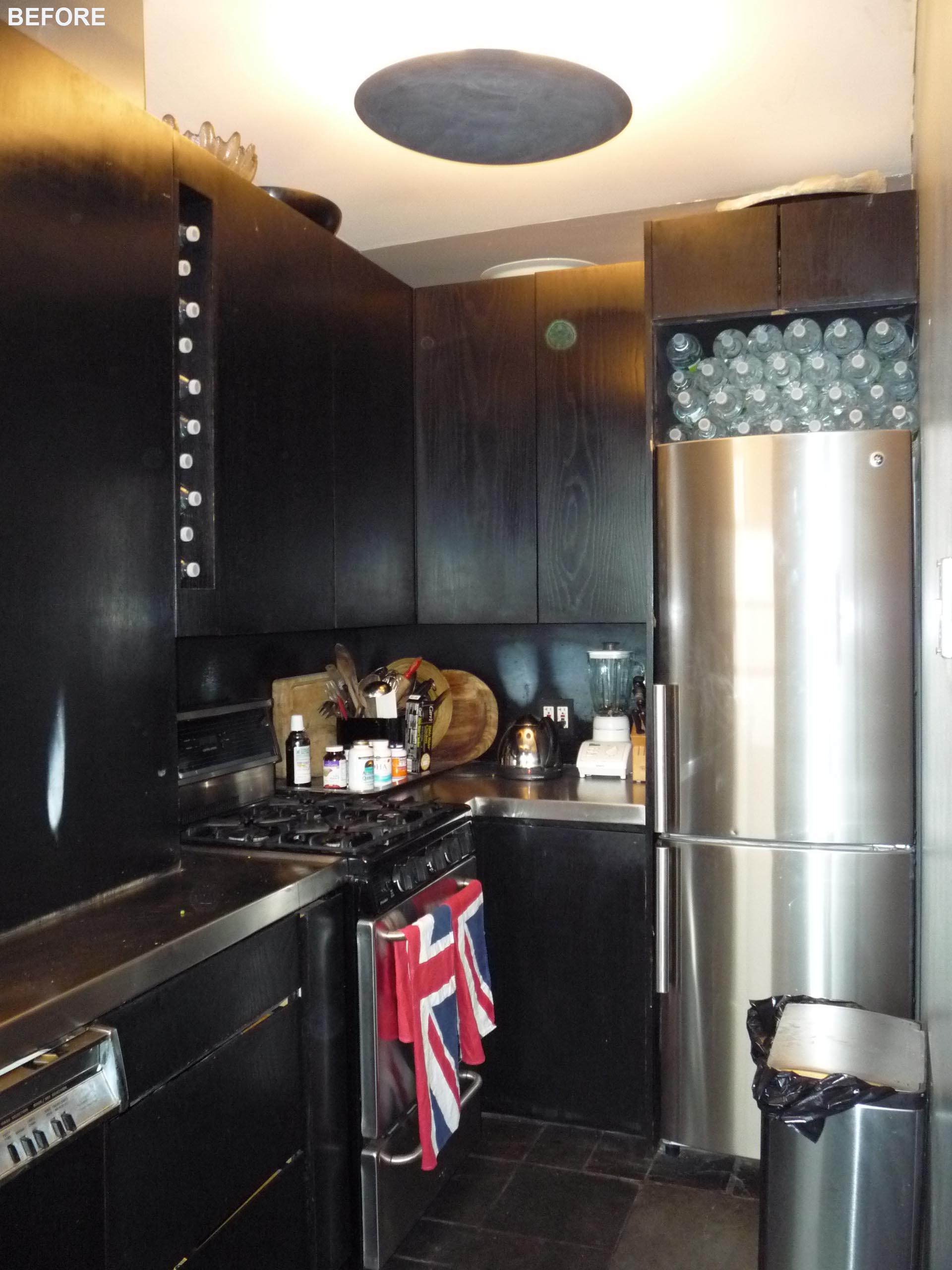 A black kitchen before a modern remodel.