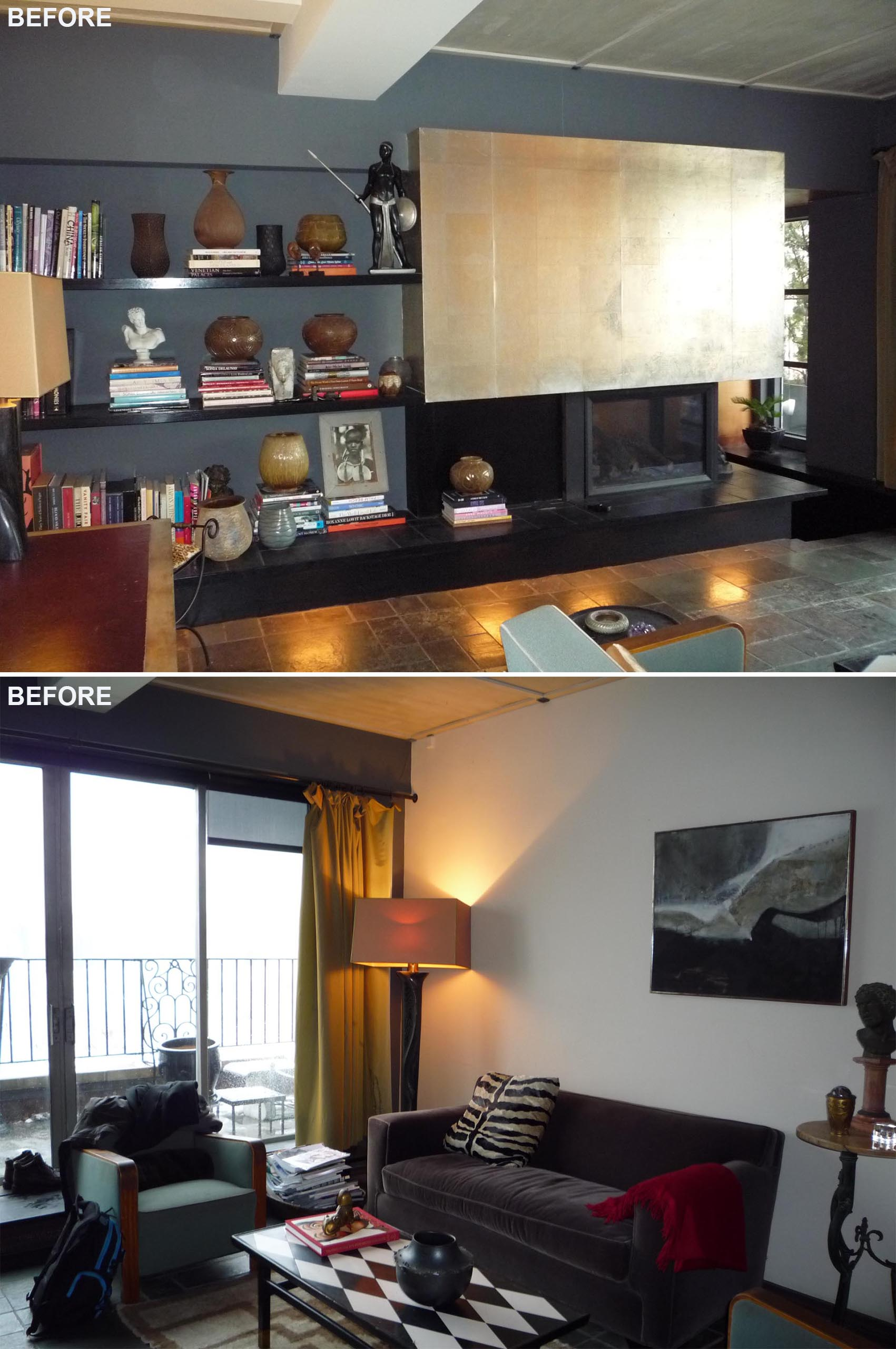 A 'before' photo of a living room with dark gray walls, a black fireplace, and metallic accent.