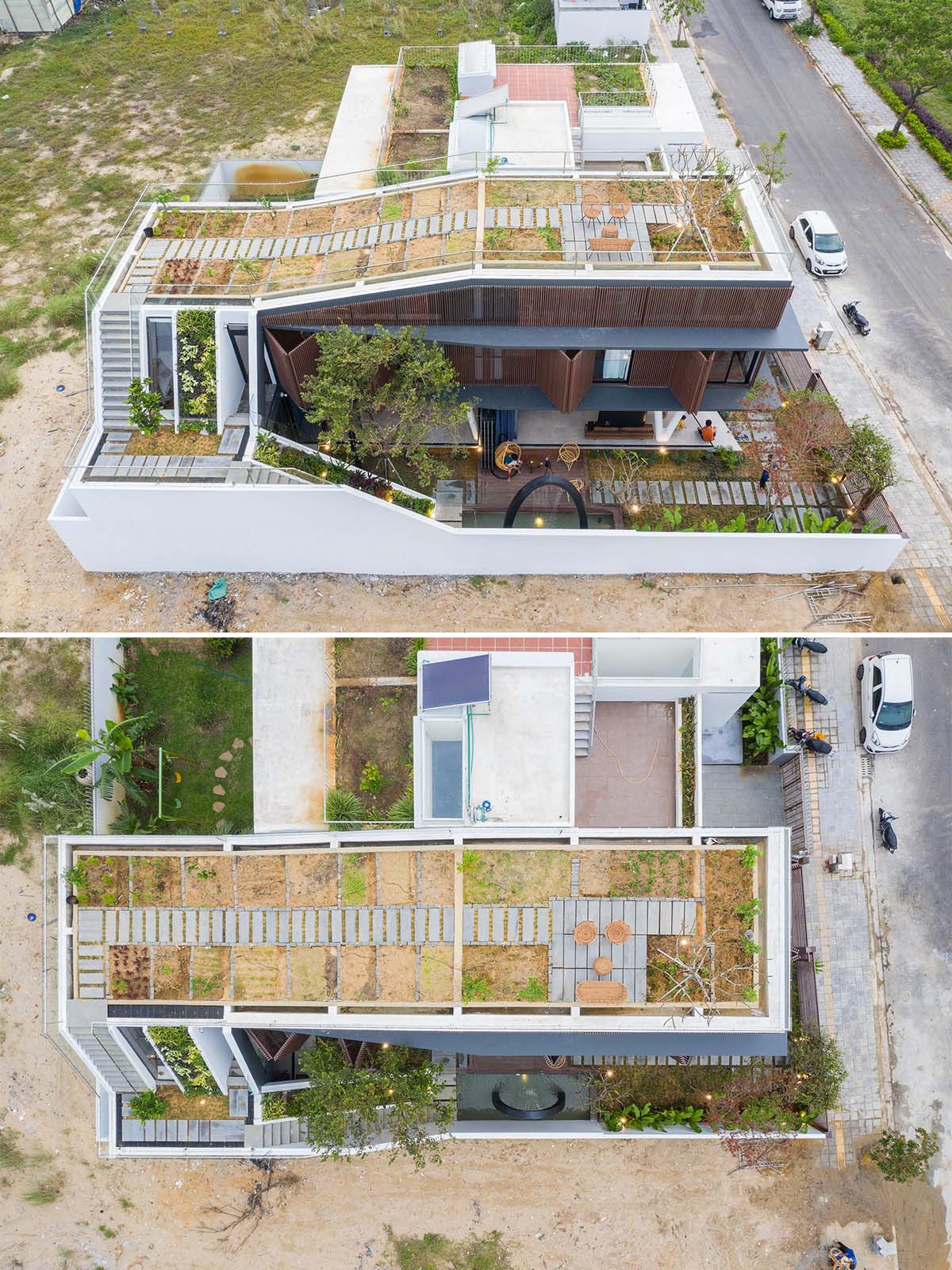 On the rooftop of this modern home, there's a small patio and a herb/vegetable garden that produces enough for daily use.