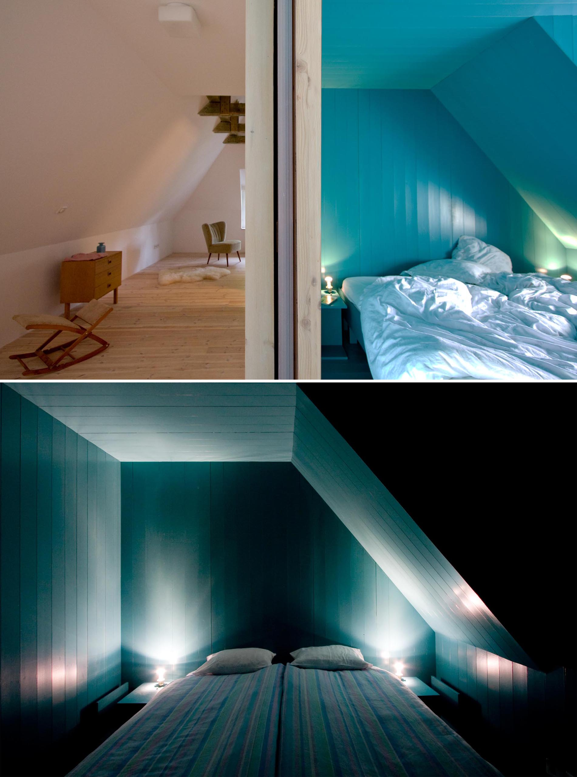 A modern turquoise blue bedroom.