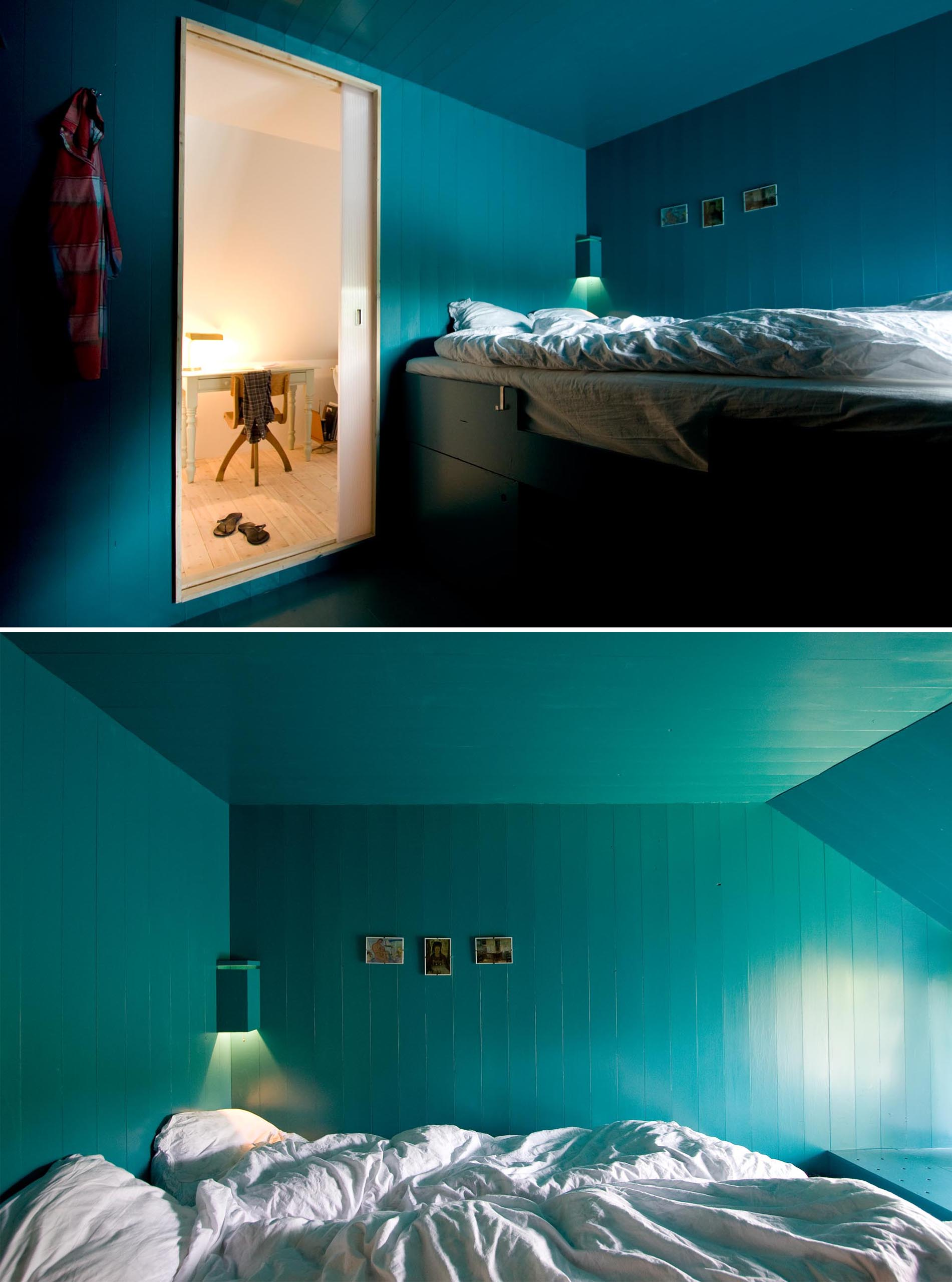 A modern turquoise blue bedroom with a loft bed that includes storage underneath.