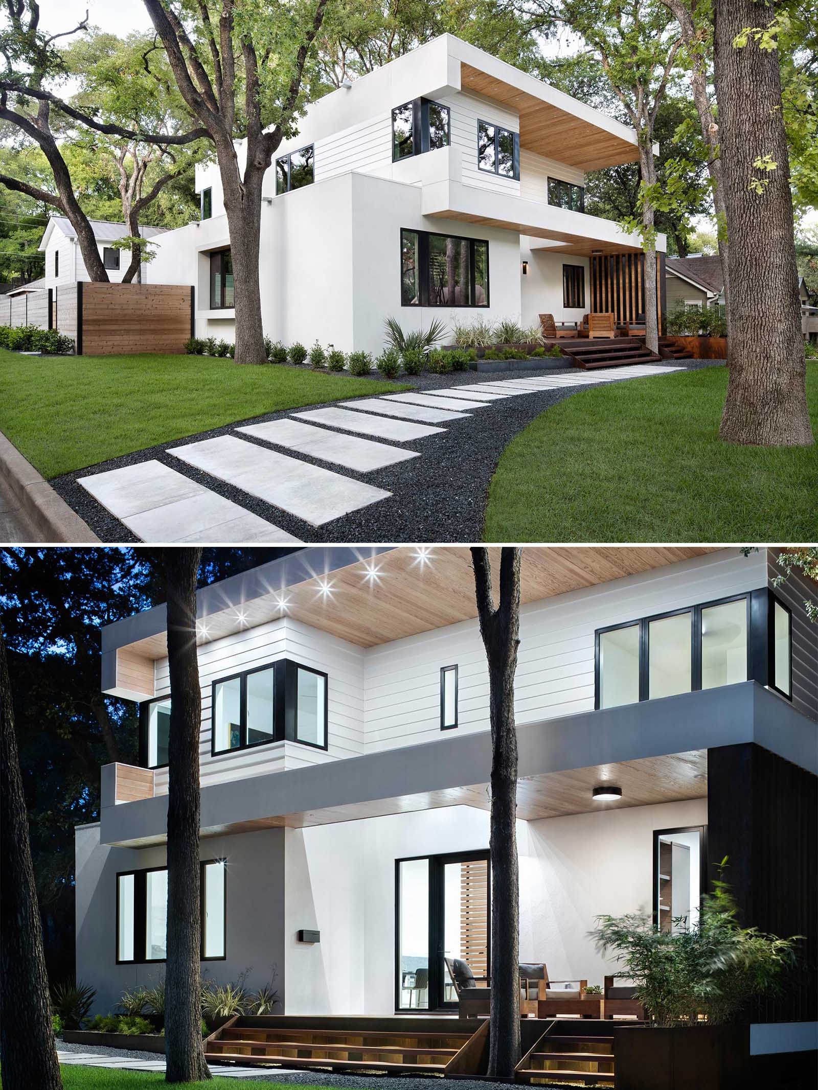 A modern home that has a bright white exterior with wood accents, a small porch, and landscaped front garden with a path.