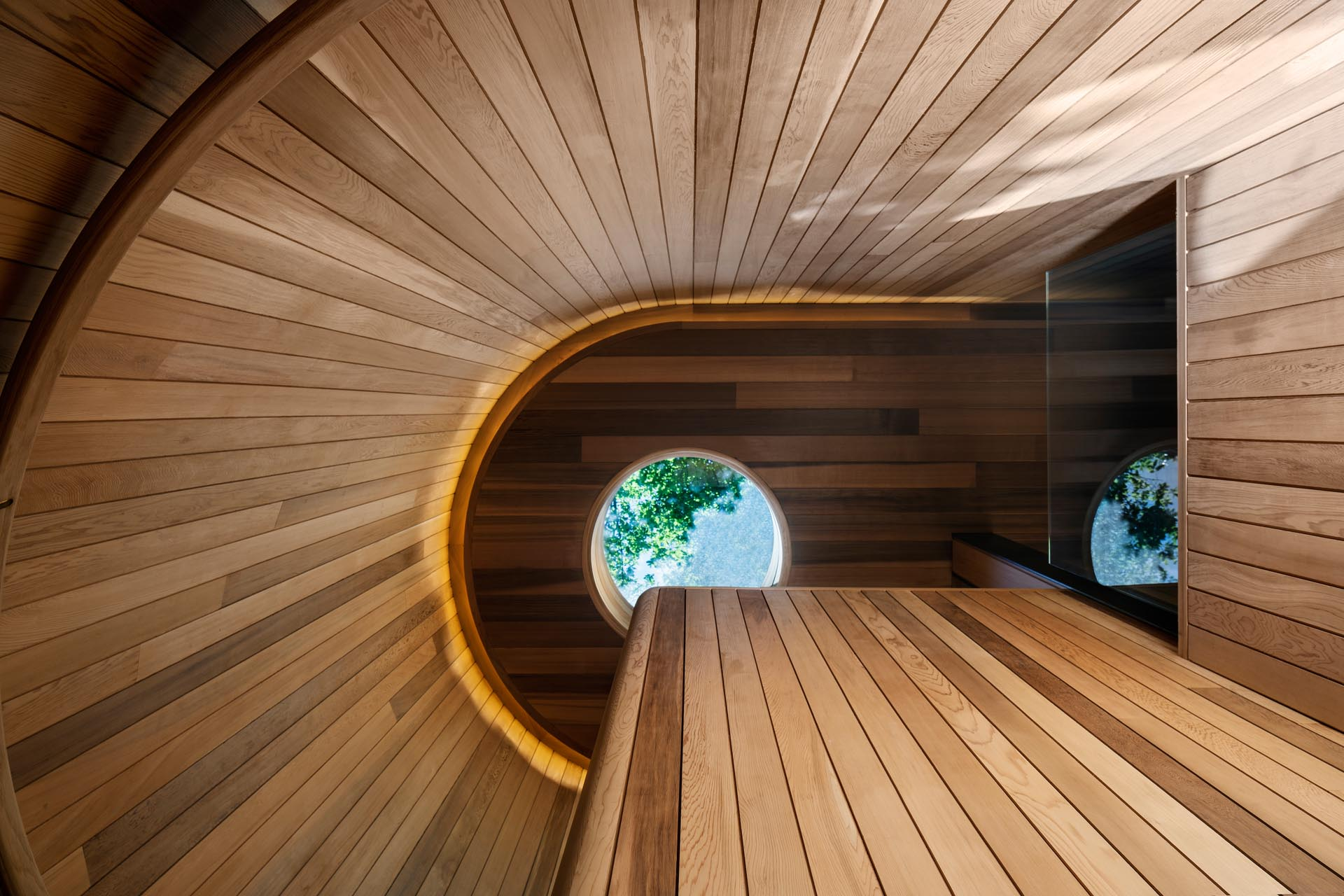 Modern wood lined stairs with a skylight and hidden lighting.