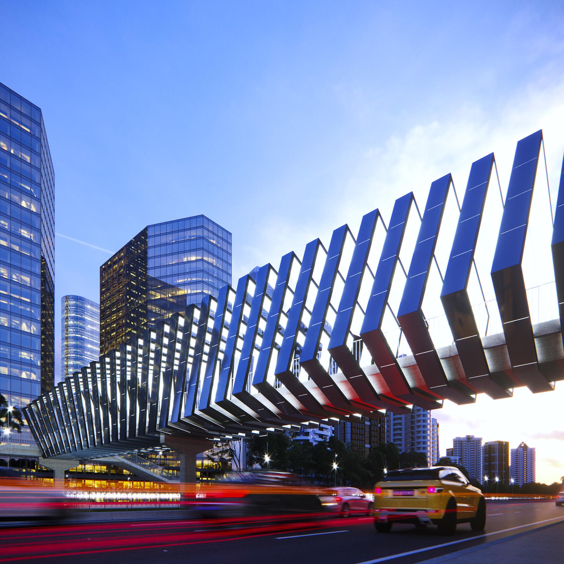 A modern pedestrian bridge.