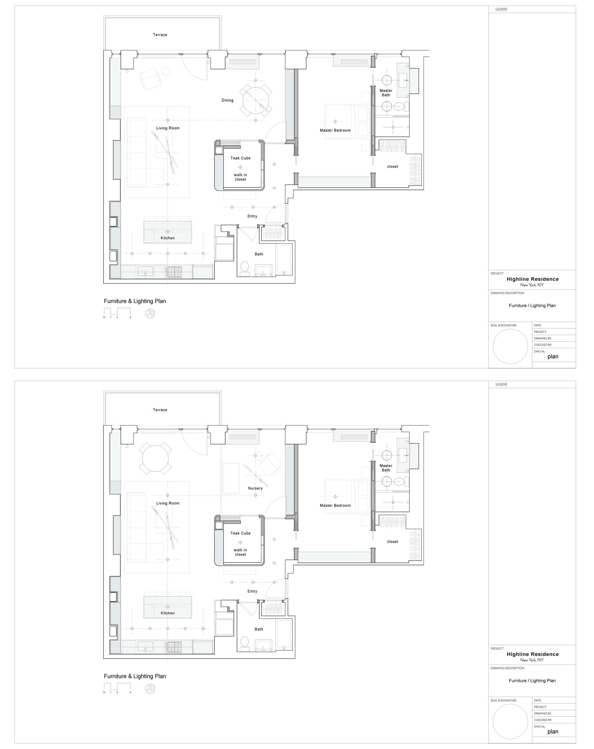 An apartment floor plan that shows how the dining room can transition into a bedroom.
