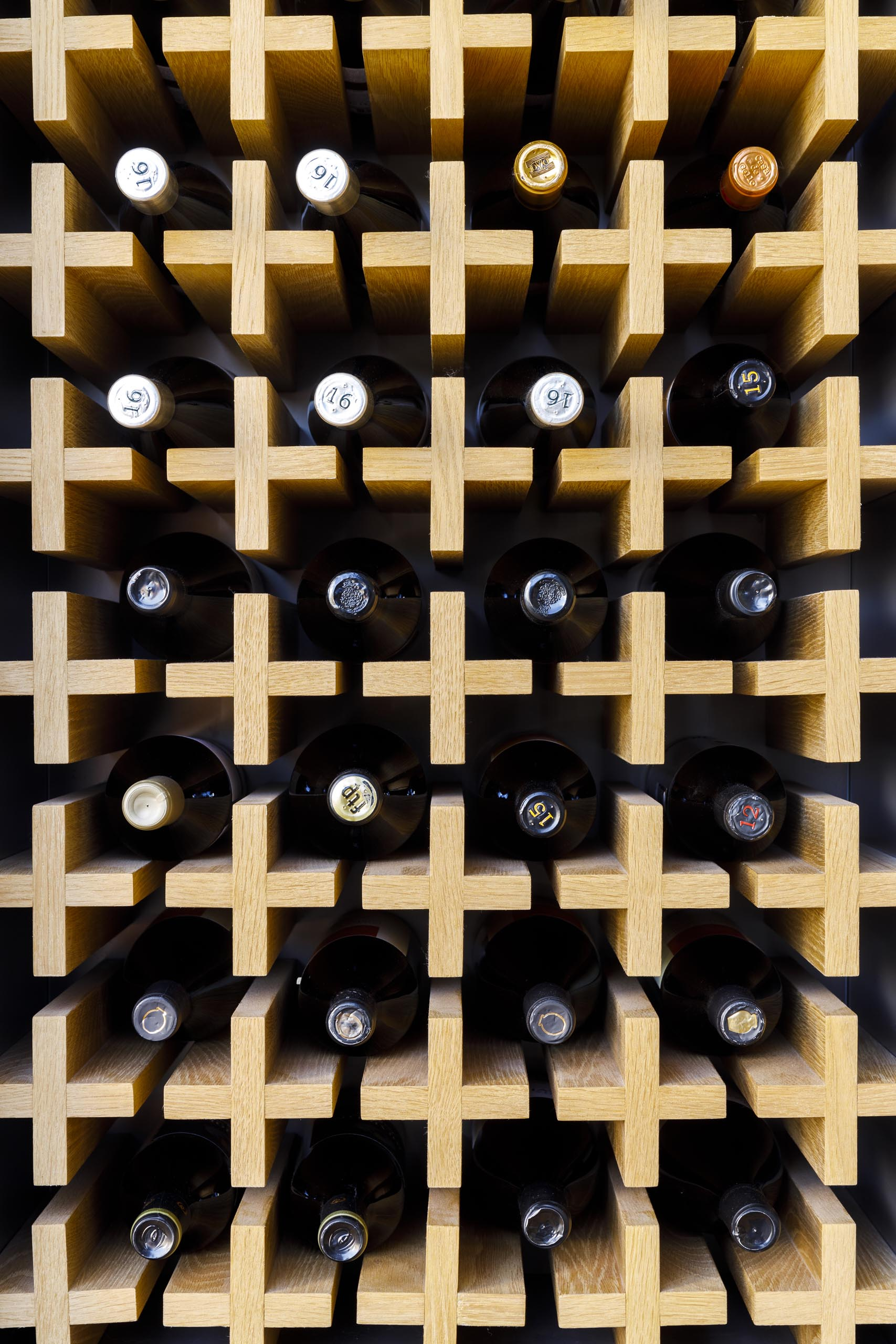 Modern wood wine storage wall.