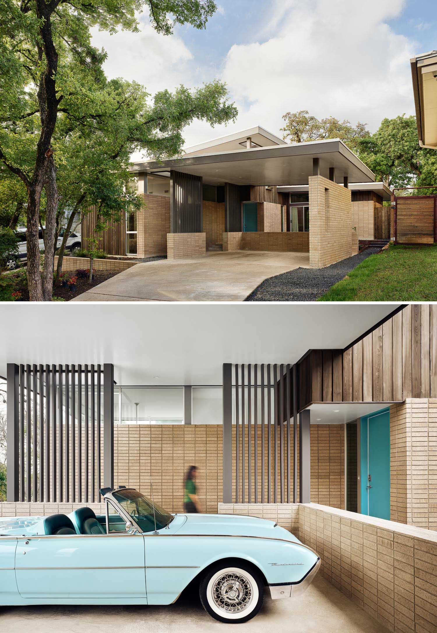 A mid-century modern inspired home with a turquoise front door and a carport.