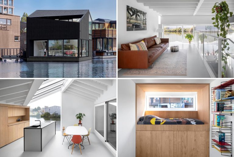 A Modern Float Home With A Bold Black Exterior Has Joined This Floating Village In The Netherlands