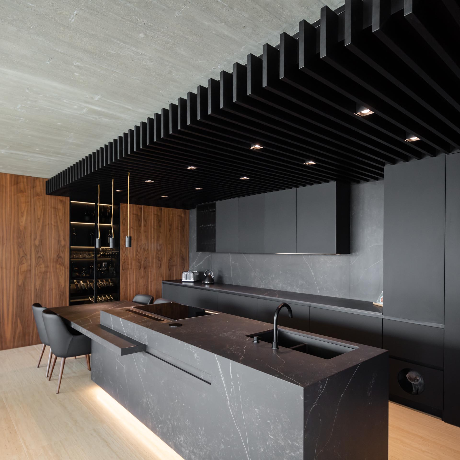 A modern kitchen with a wall of matte black minimalist cabinets (which also include a little door for access to a cat litter box), as well as a black wood ceiling with lighting positioned evenly between the slats.