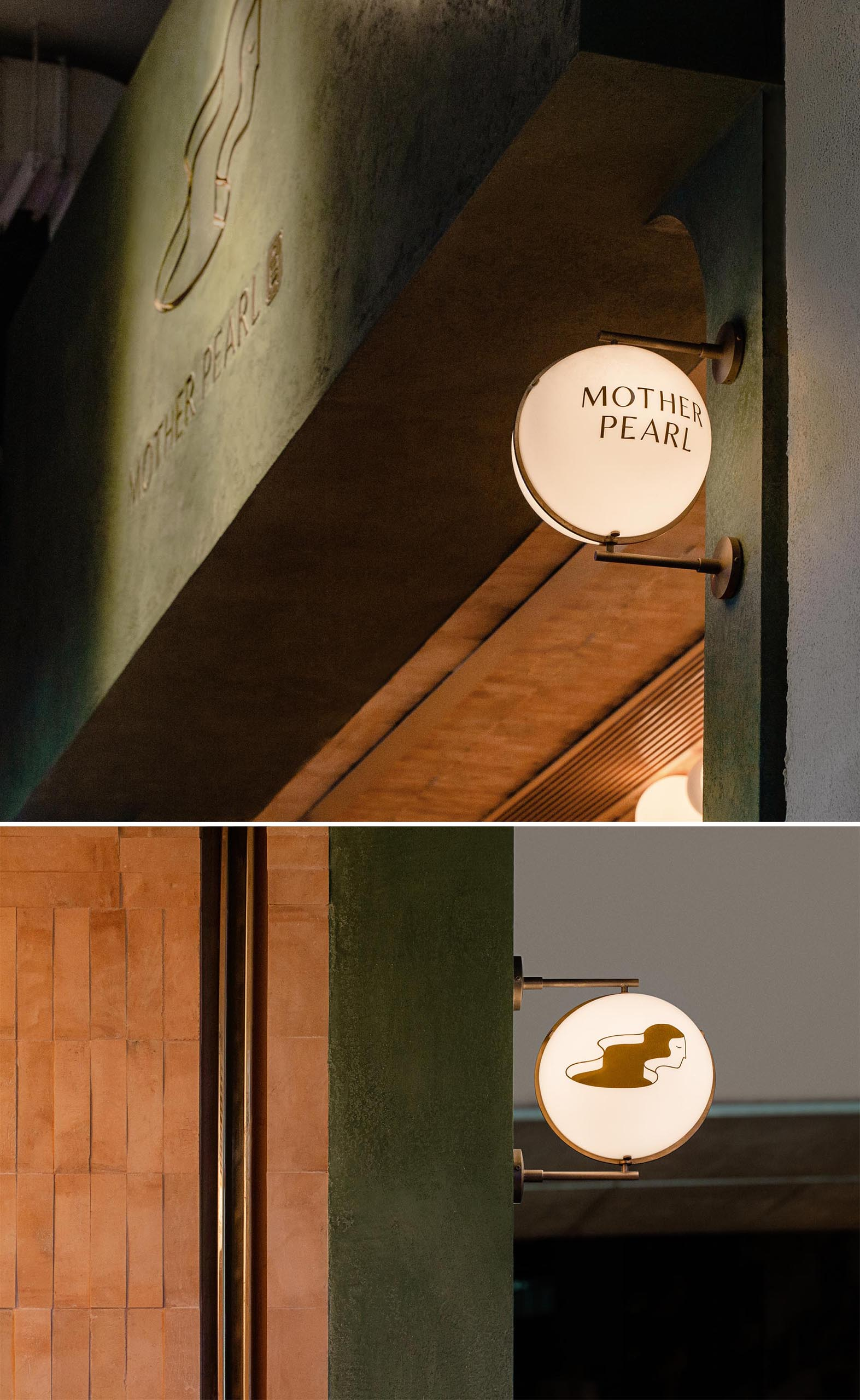 Globe lights attached to the facade with metal fixtures, show people passing by the name of the tea house and it's logo.