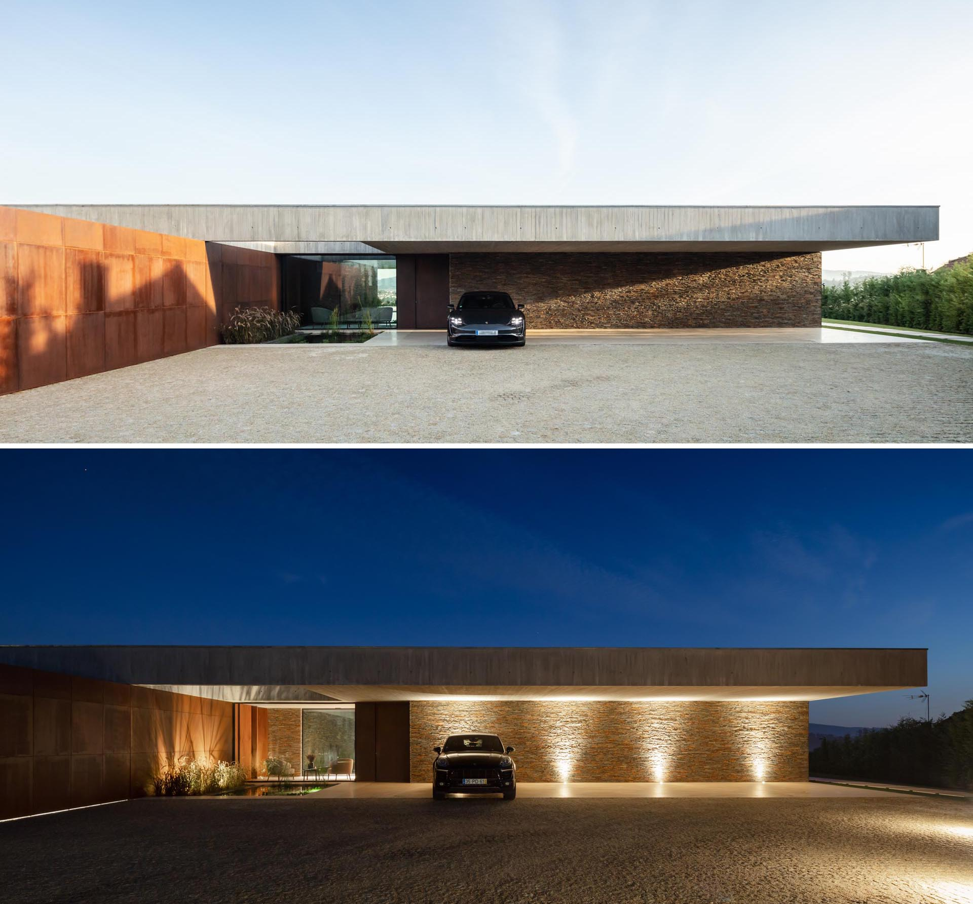 A modern concrete hone with weathered steel and stone accent walls, and lighting that highlights the covered parking area at night.