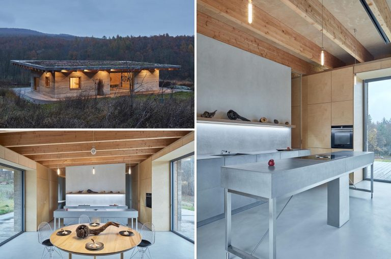 Hempcrete Walls And A Green Roof Were Used When Building This Rural Cabin