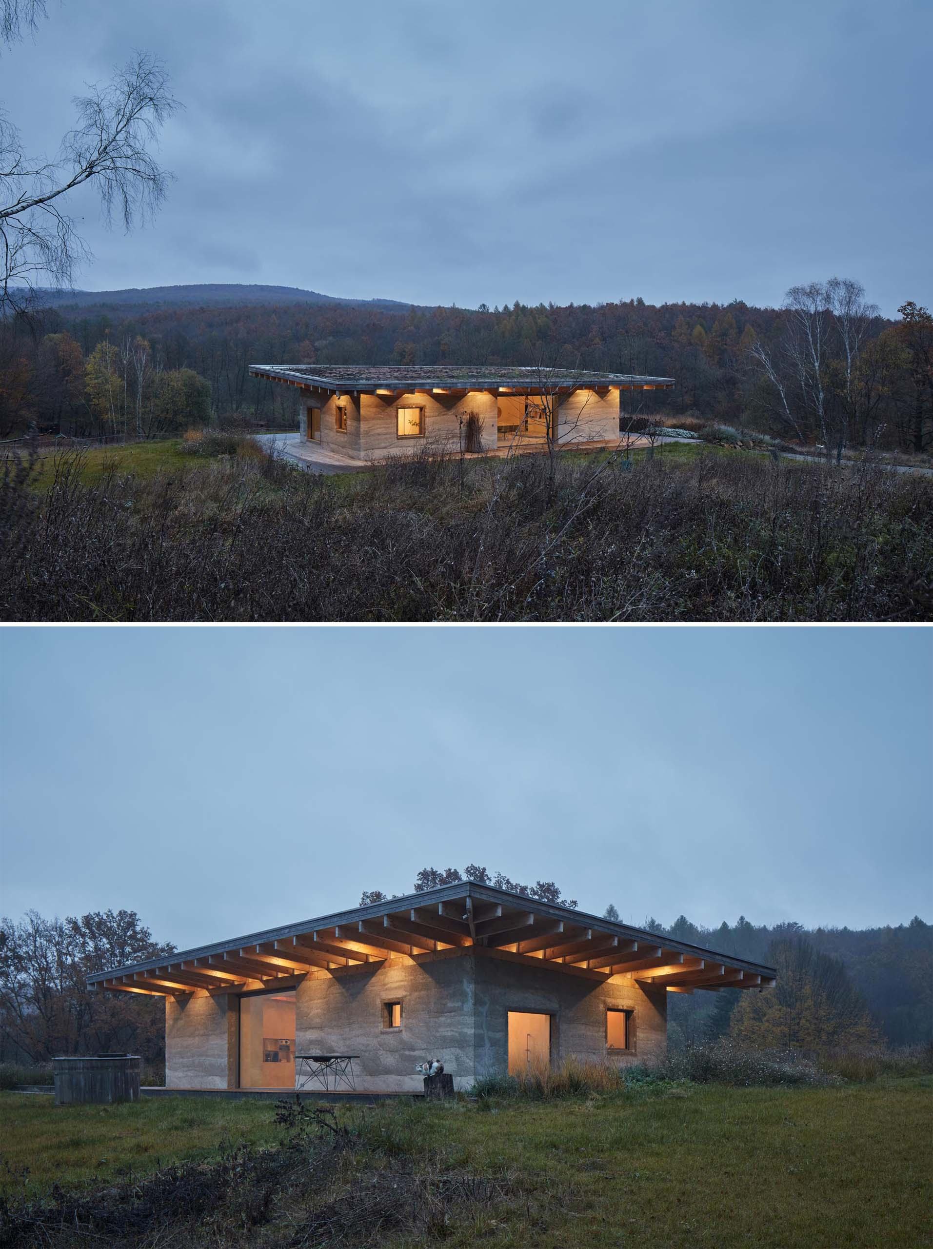 A modern cabin with hempcrete walls and a greenroof.