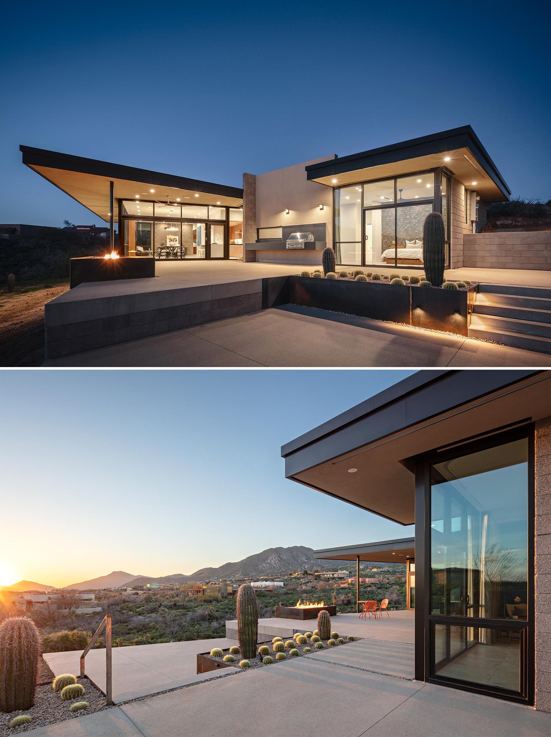 The exterior of this desert home includes a raw steel fire feature, an outdoor floating BBQ, raw steel planters, and a spacious patio. An angled roof facia helps frame the view of the mountain beyond mountains beyond.