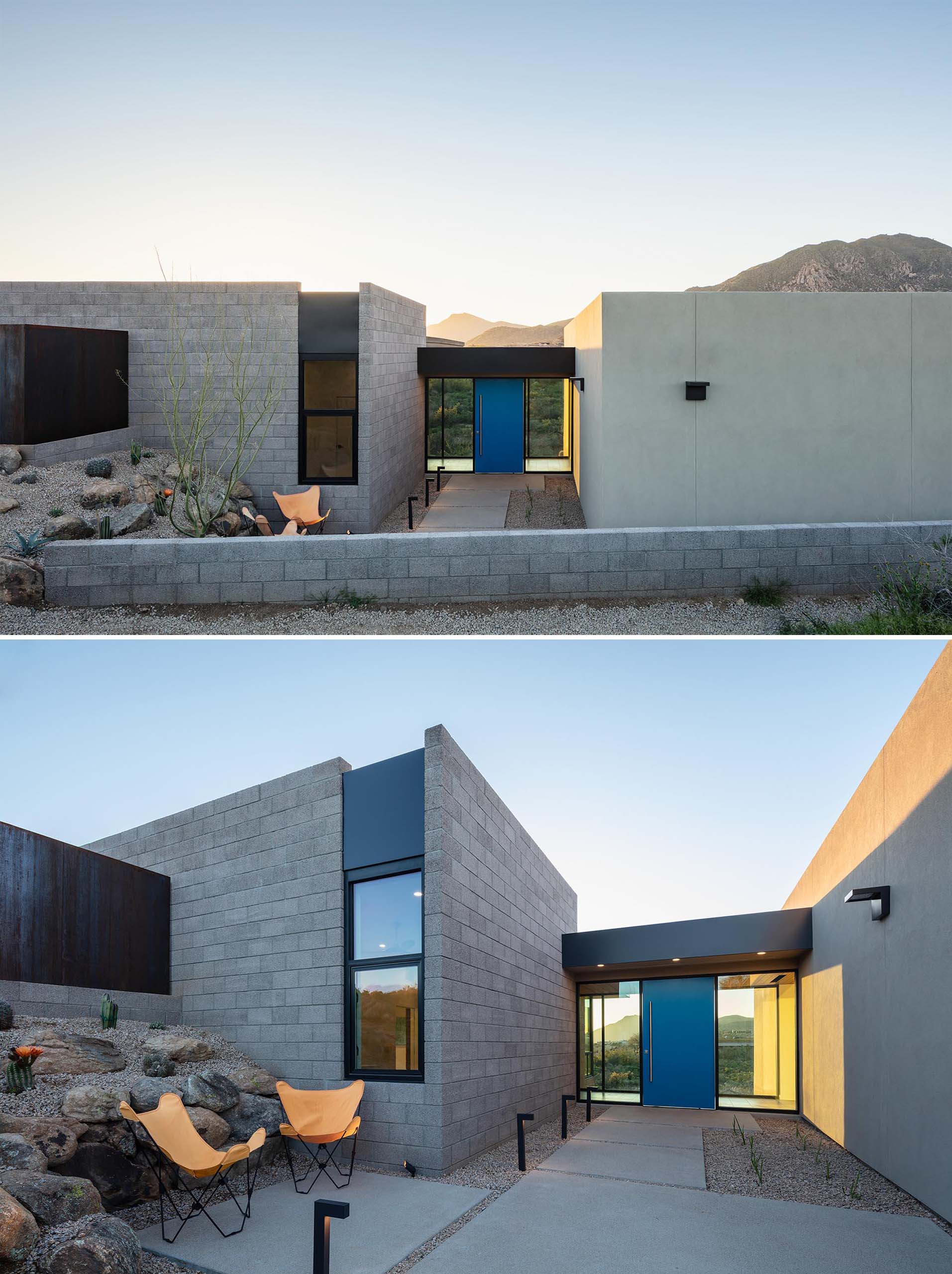 The entry of this modern desert home, which is highlighted by a bright blue pivoting front door, connects the foyer, garage entry and access to the guest area all through the glass 'bridge' element.