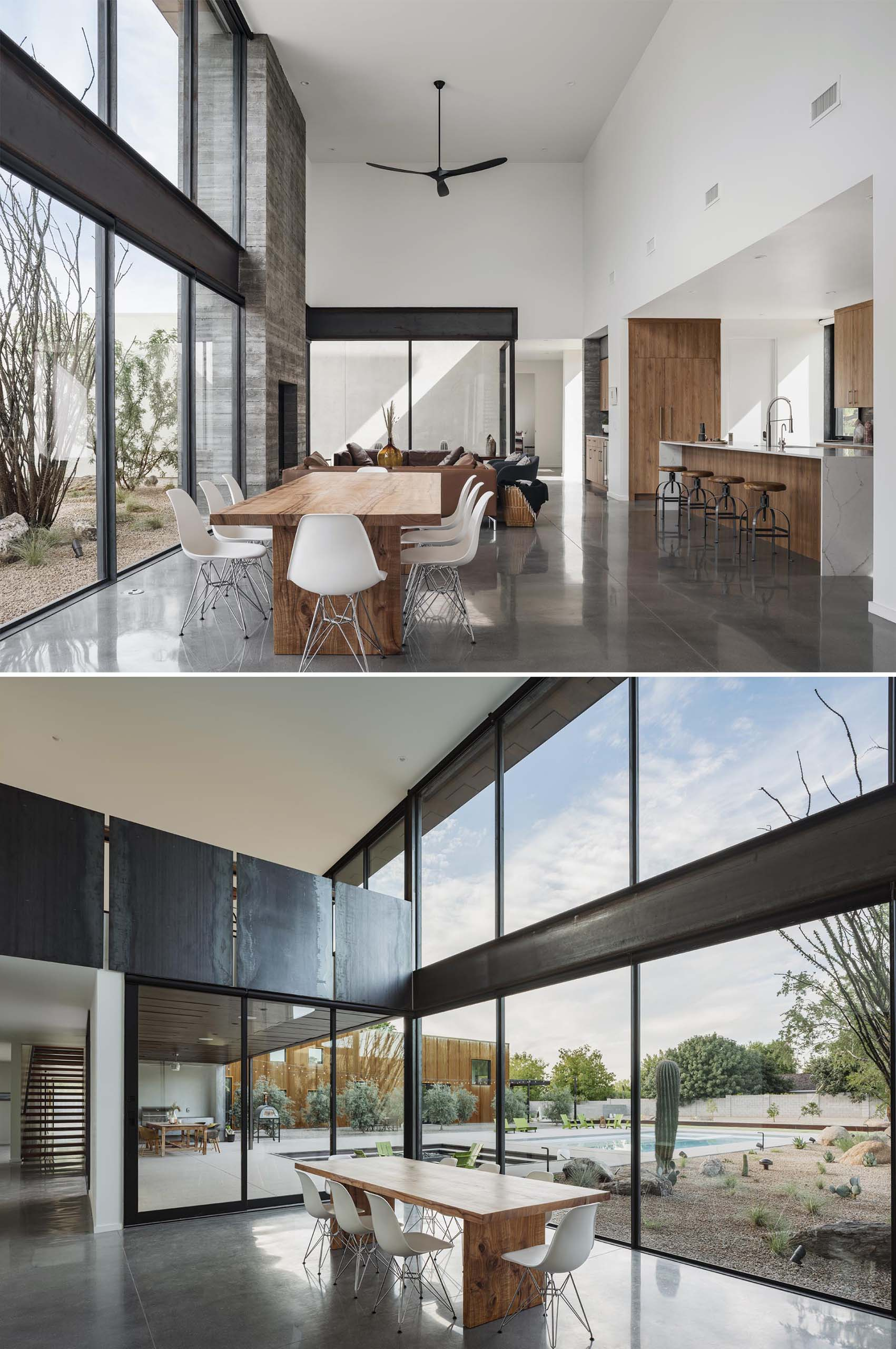 A modern open plan dining room with high ceilings and an abundance of natural light.