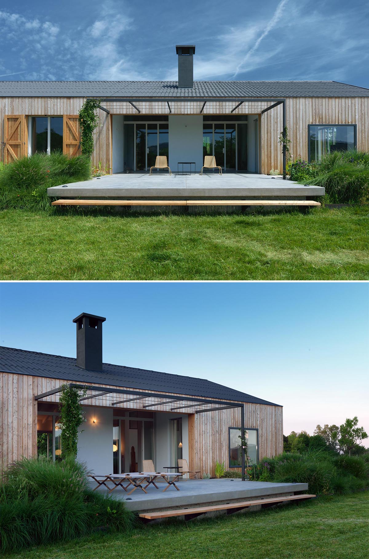 A modern farmhouse with an outdoor patio that has a pergola for the vines to grow over.