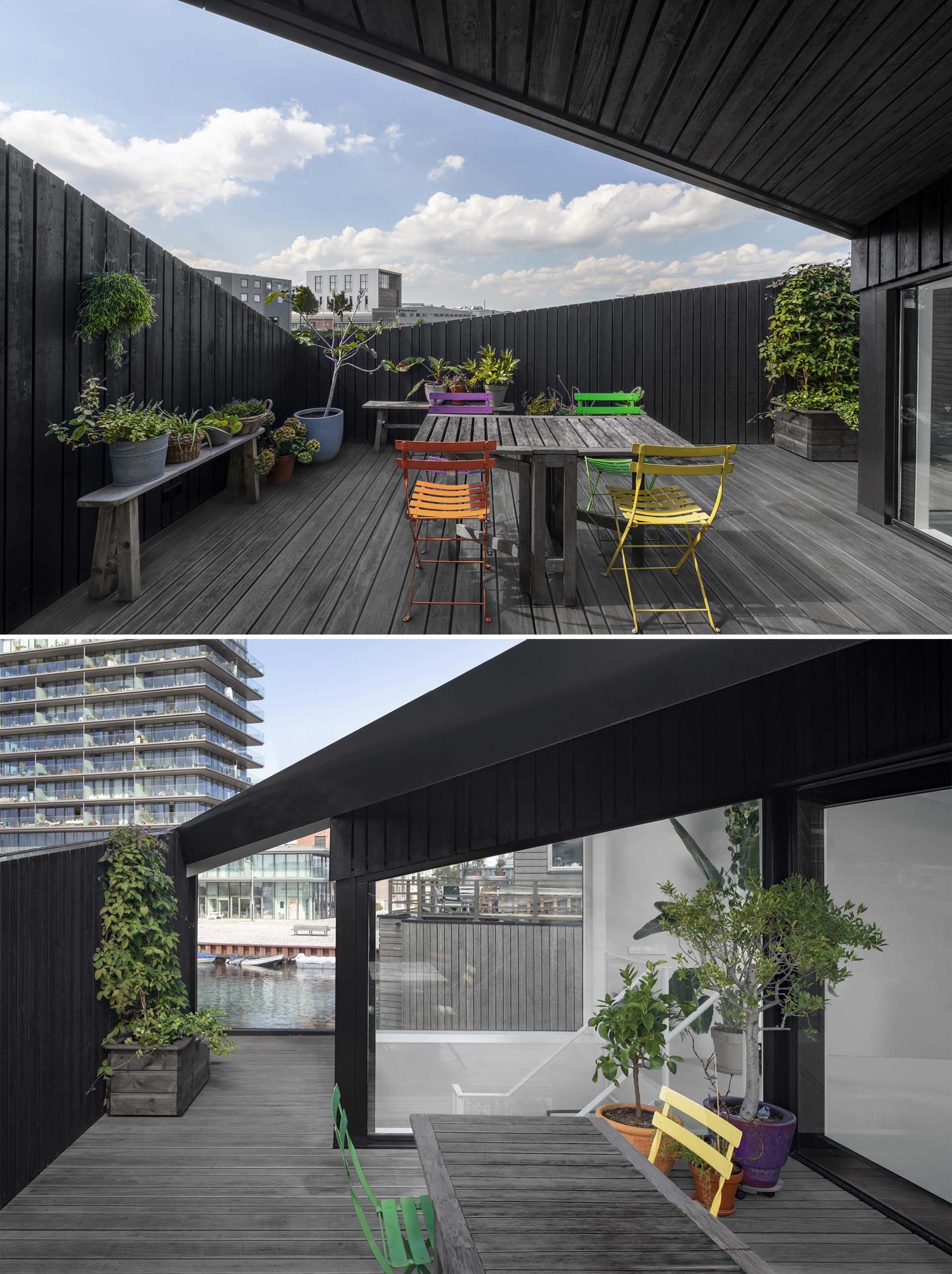 A sense of privacy has been created for the rooftop deck by having angled walls.