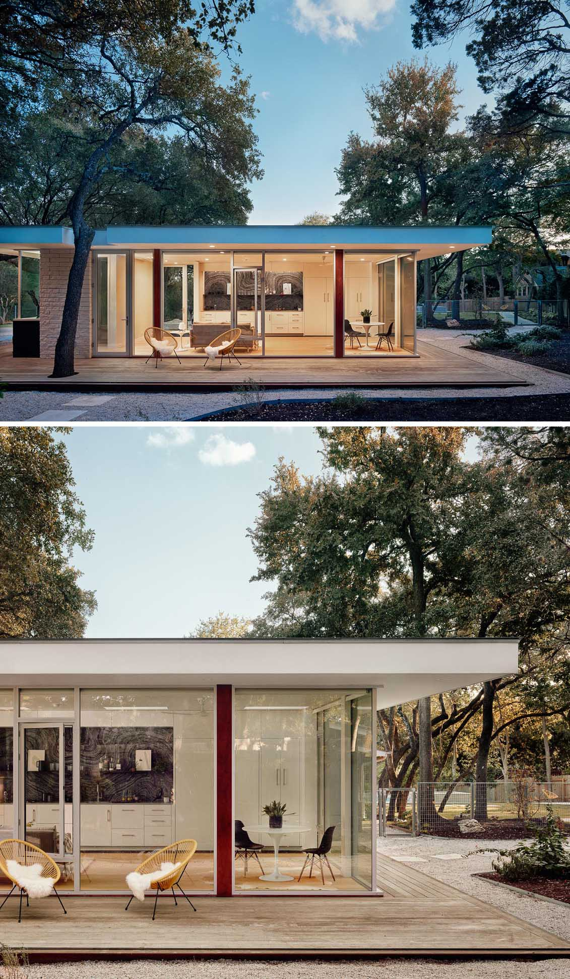 A modern ADU (accessory dwelling unit) or guest house, has walls of glass and measures in at 540 square feet (50sqm).