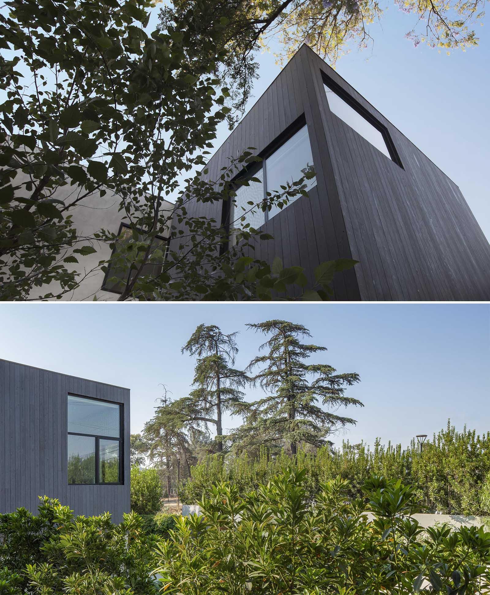 A modern house with Shou Sugi Ban exterior siding.