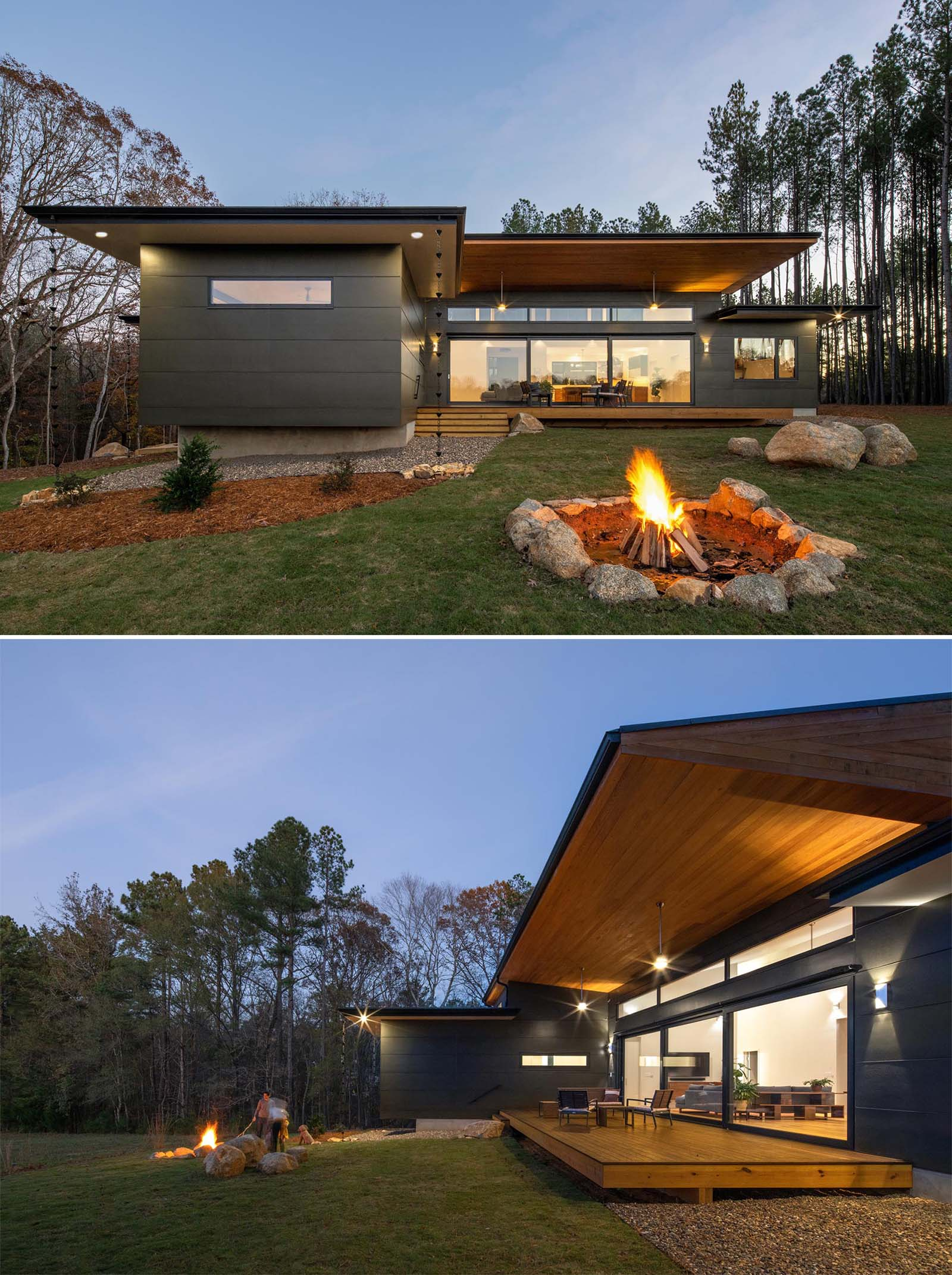 At the rear of this single story modern home, there's a a fire pit for relaxing and enjoying the meadow views, and a covered deck with outdoor fans.