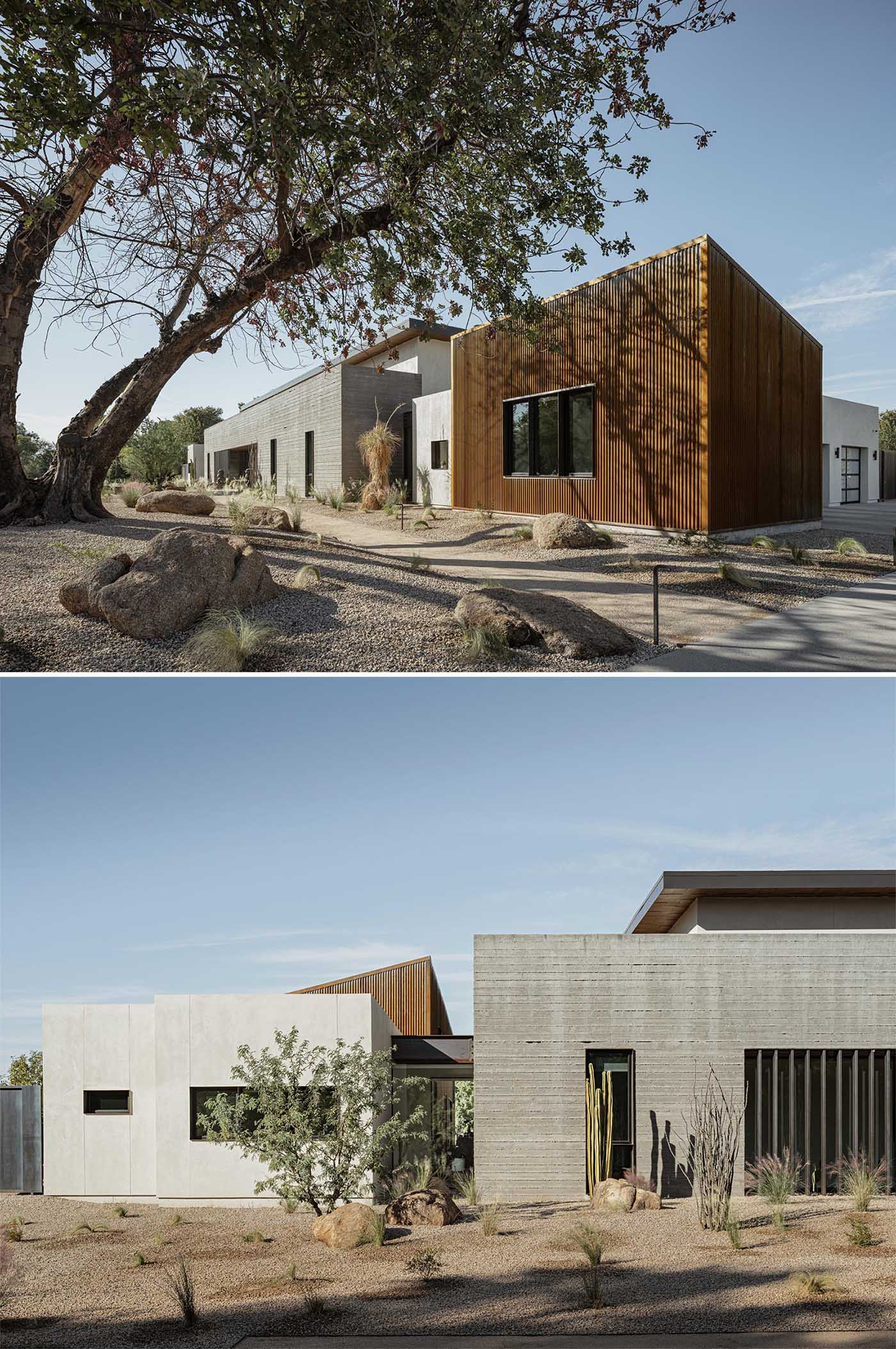 The exterior of this modern desert home is composed of materials well suited for the harsh environment such as board-formed concrete, rusted corrugated metal, hand troweled stucco, steel and glass.