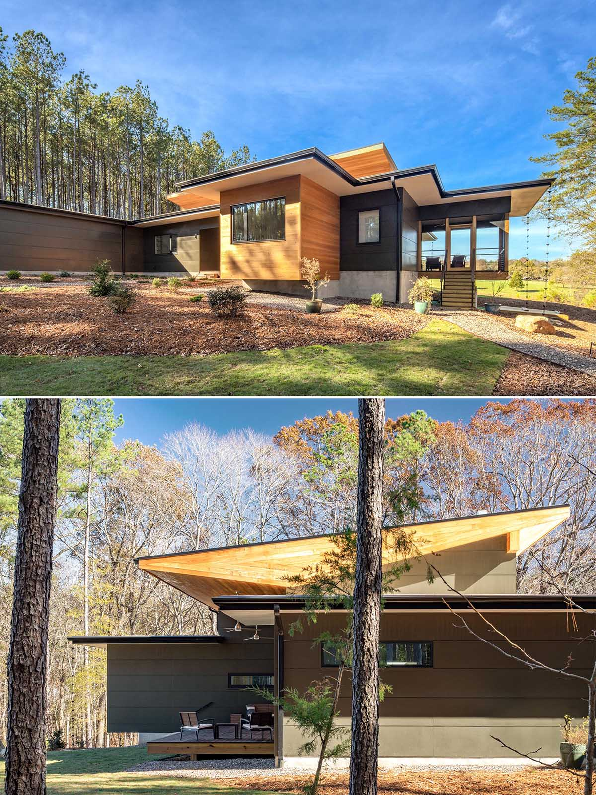 A modern home with wood accents and a roof designed for solar panels.