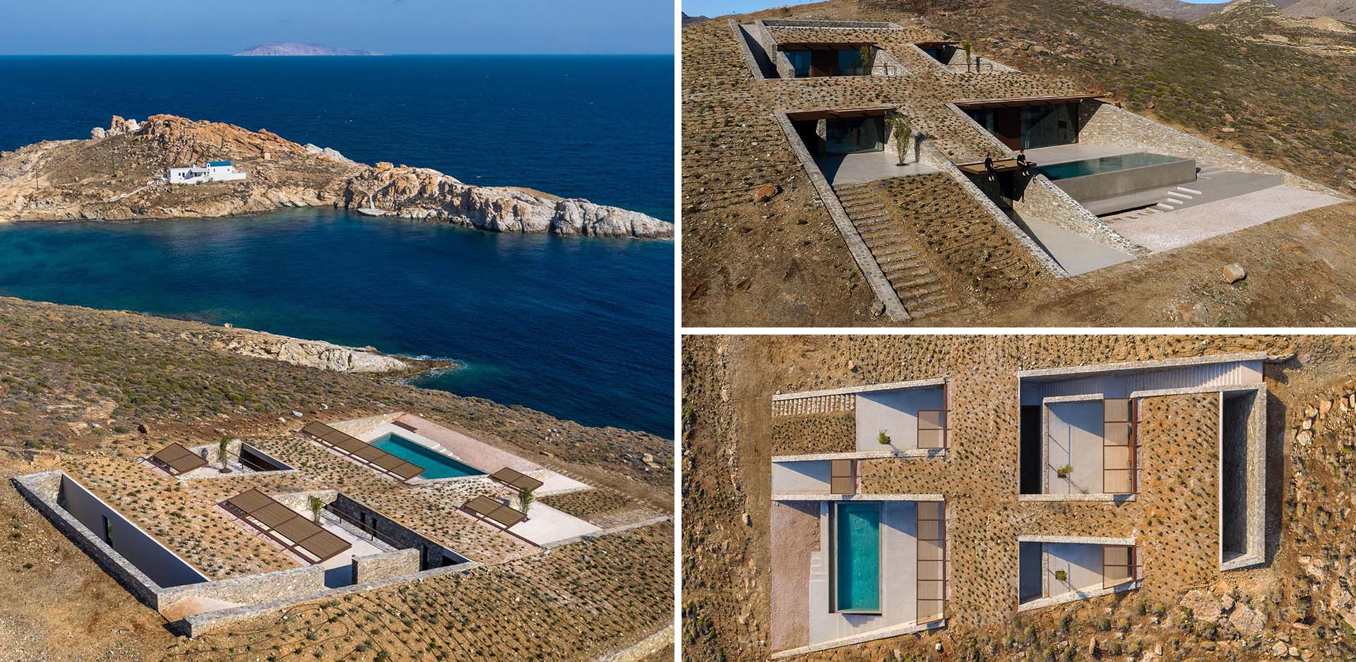 A modern home with stone walls and a swimming pool has been built into a hillside on an island.