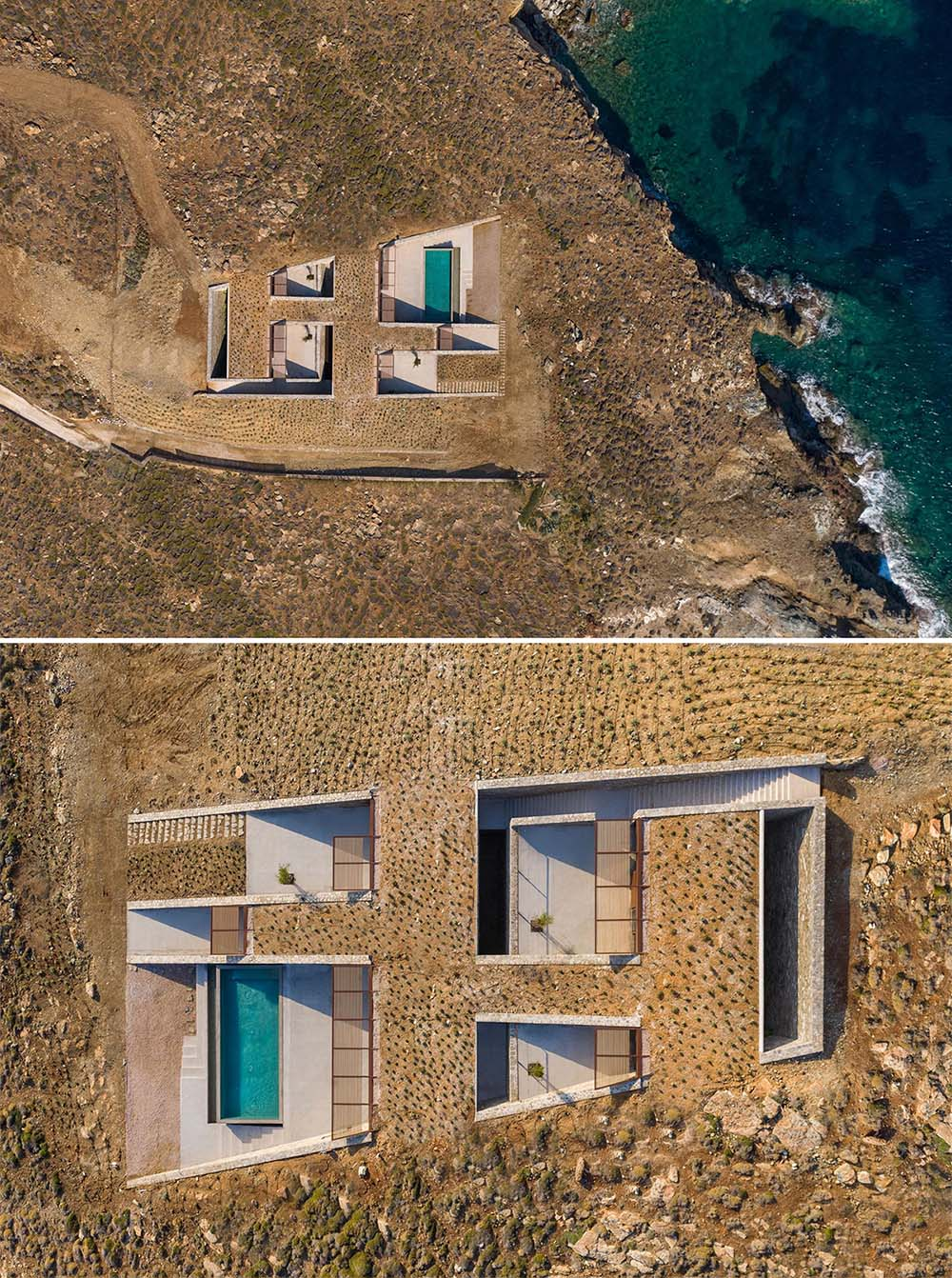 A modern multi-level home with a swimming pool, that's been built into a hillside.