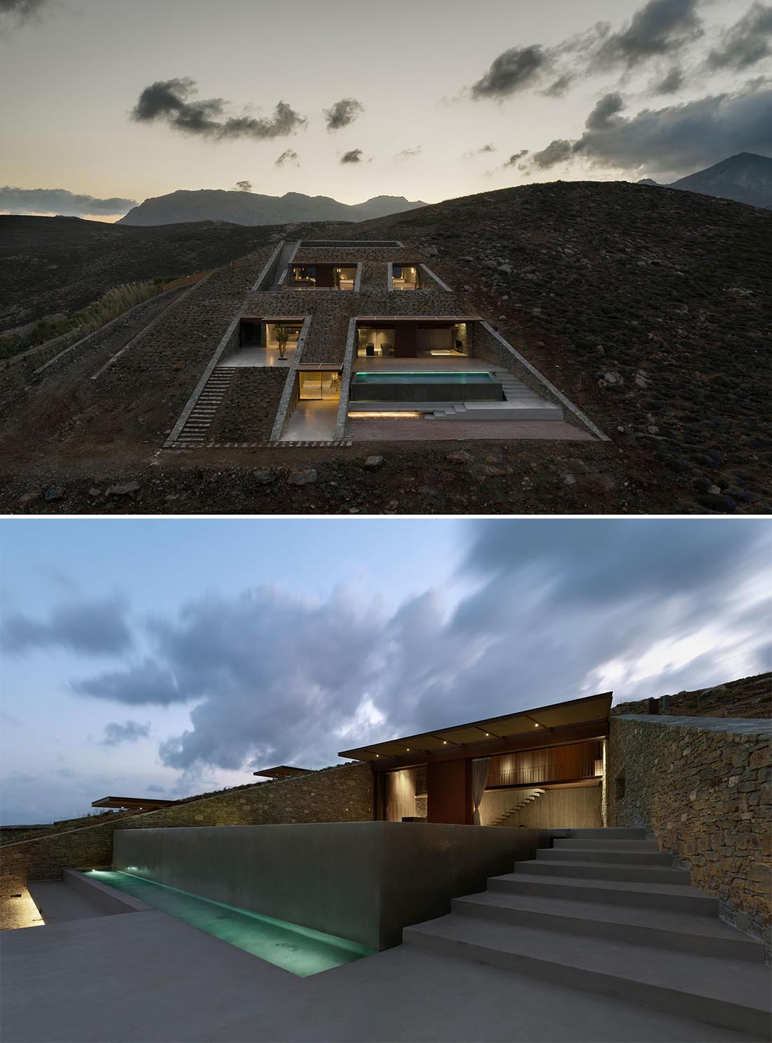 A modern home that's been built into the hillside.