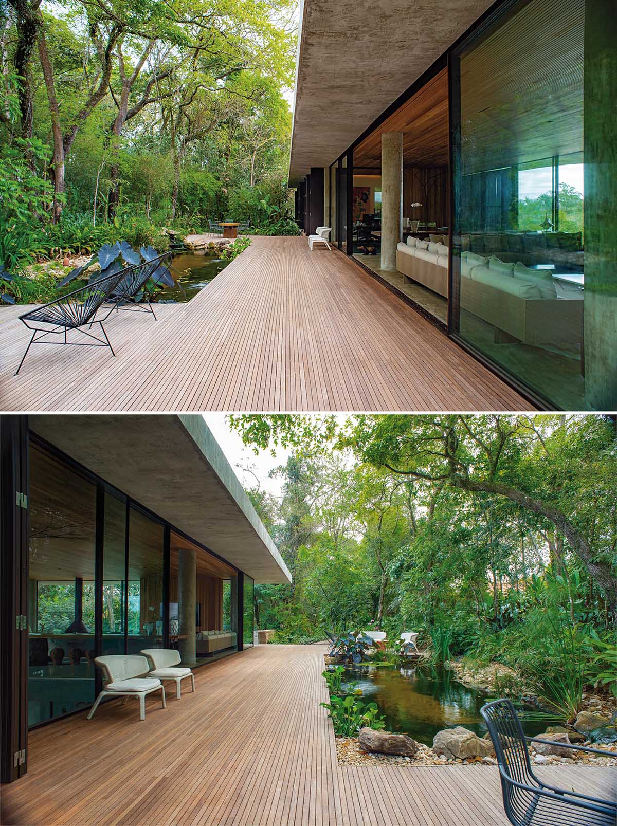 A modern concrete home with a wood deck that wraps around a natural water feature and tree views.