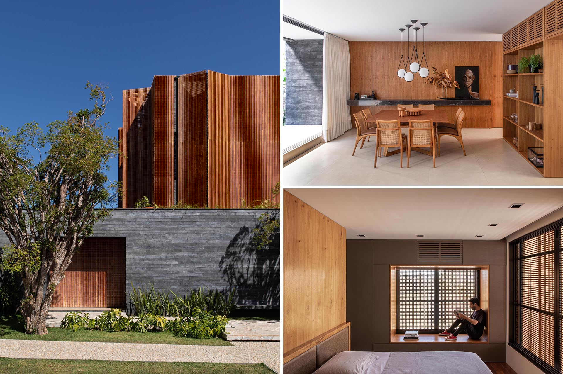 The upper level of this modern home is covered with wooden louvers, creating privacy and thermal comfort.
