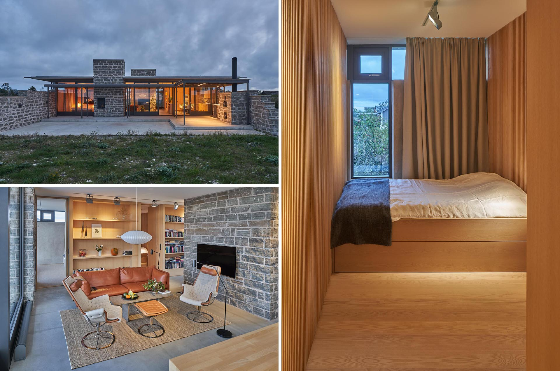 A modern house includes limestone walls, concrete floors, and warm wood.