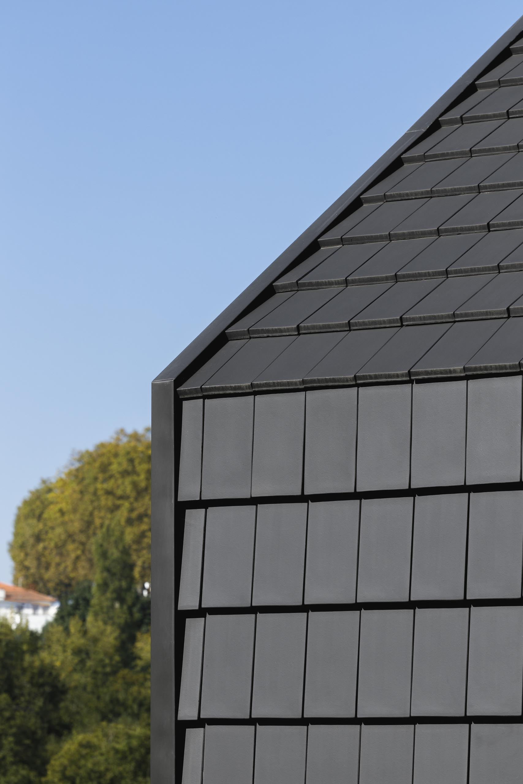 A modern house with black shingles.