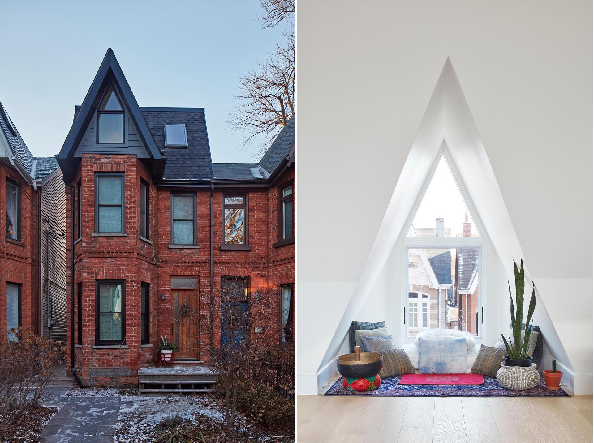 A modern extension has been added to a Victorian home, and includes a triangular window furnished as a meditation space.