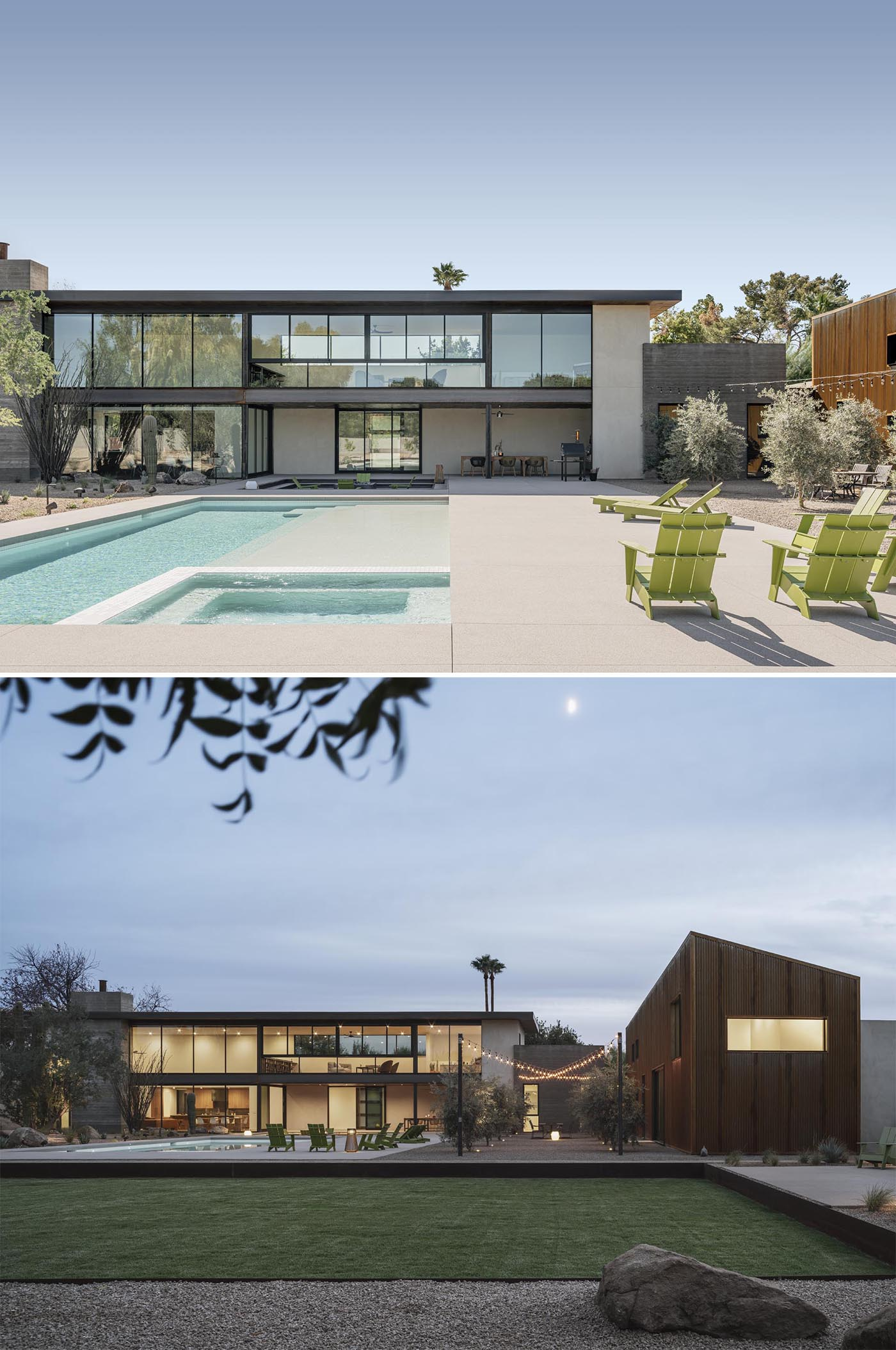 A modern home with a swimming pool, sunken fire pit, and outdoor dining.