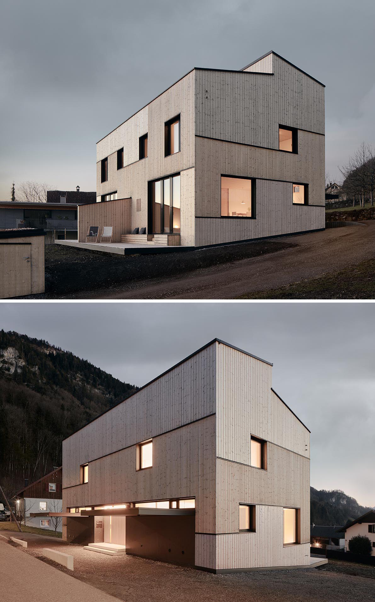 A modern duplex with different sizes of natural wood siding and black accents.