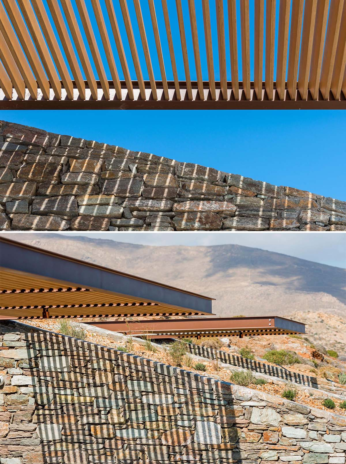 Screens made from wood slats with metal supports provide varying levels shade for both outdoor and indoor spaces.
