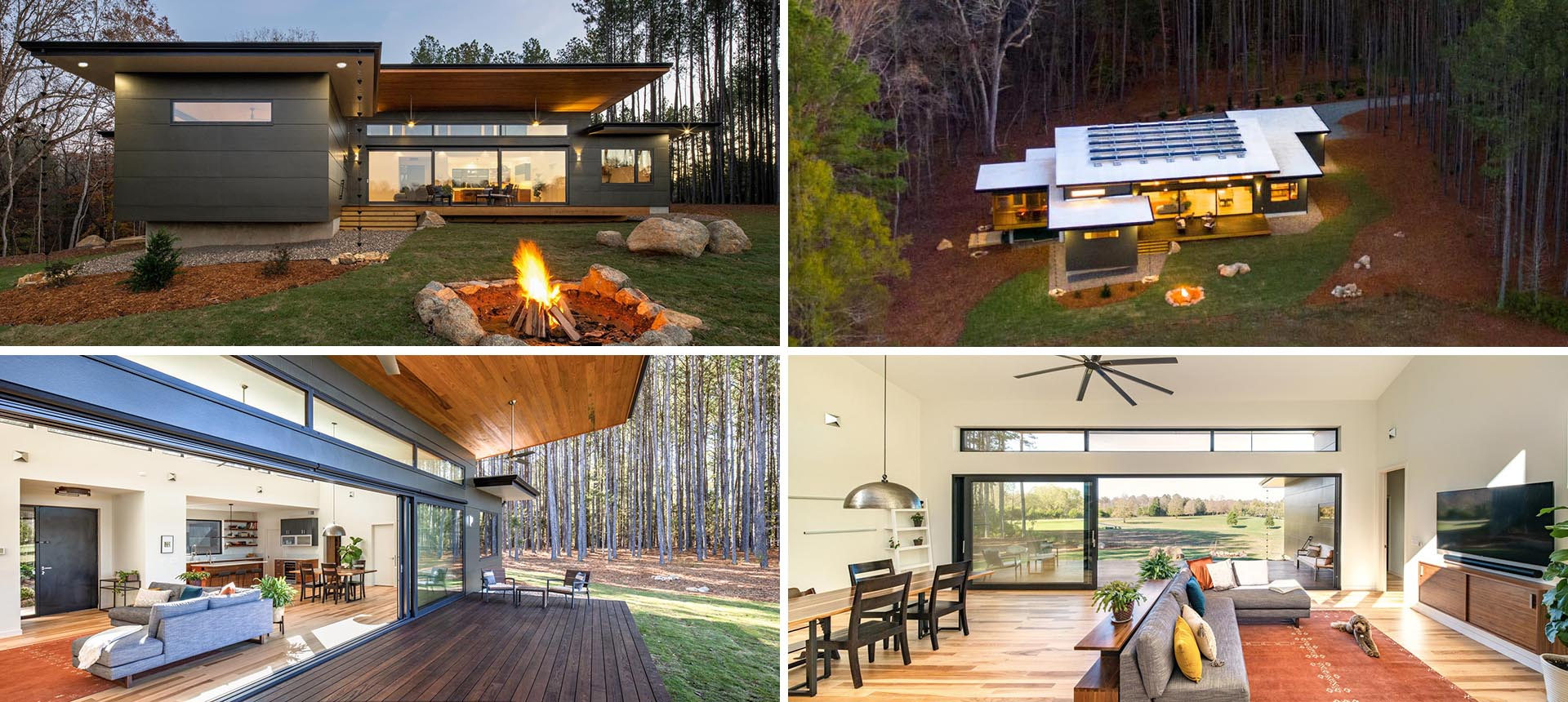 A modern home with solar panels, a covered deck, a fire pit, and an open floor plan.