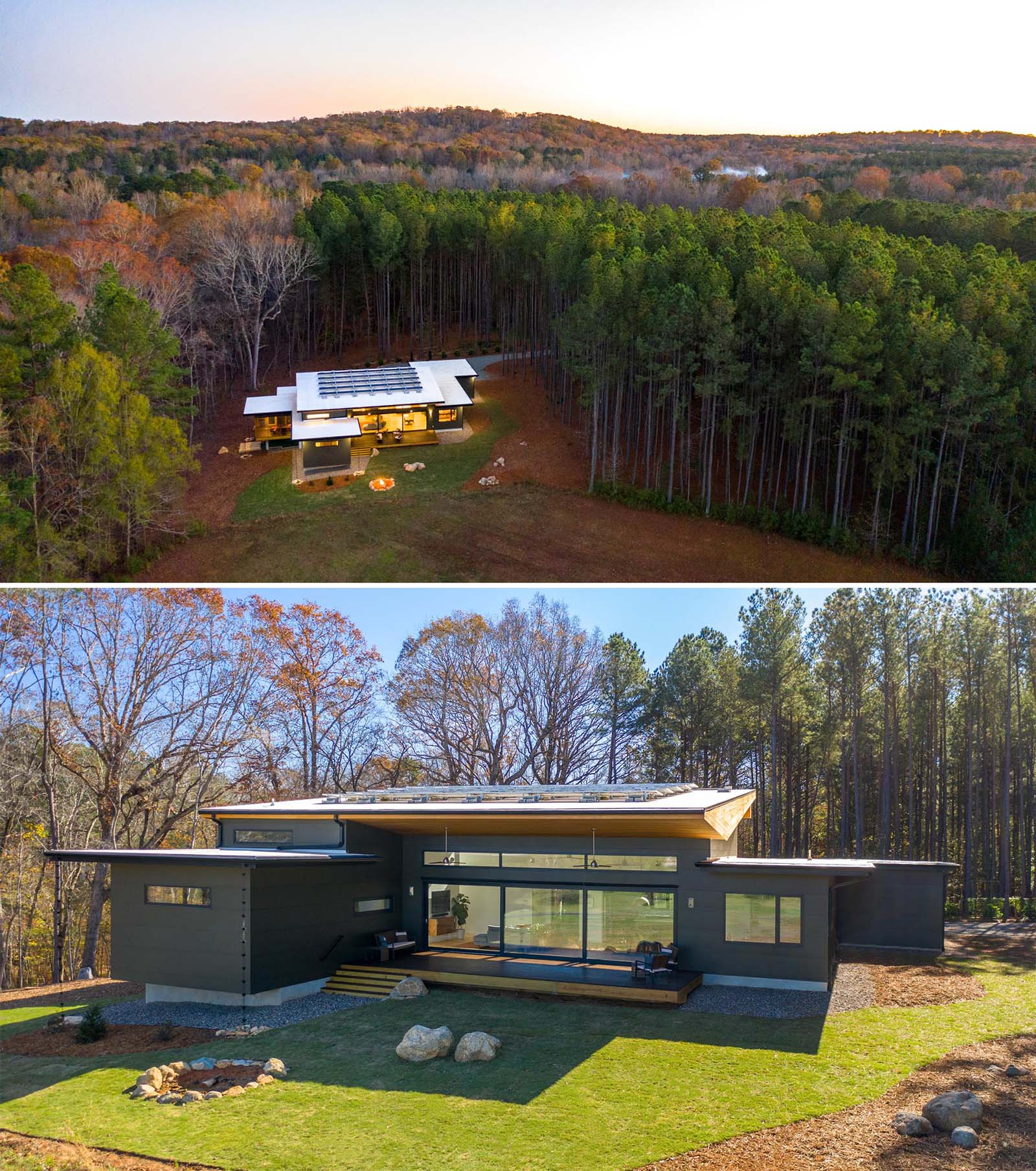 This modern home features a unique roof shape that allows for the inclusion of solar panels.
