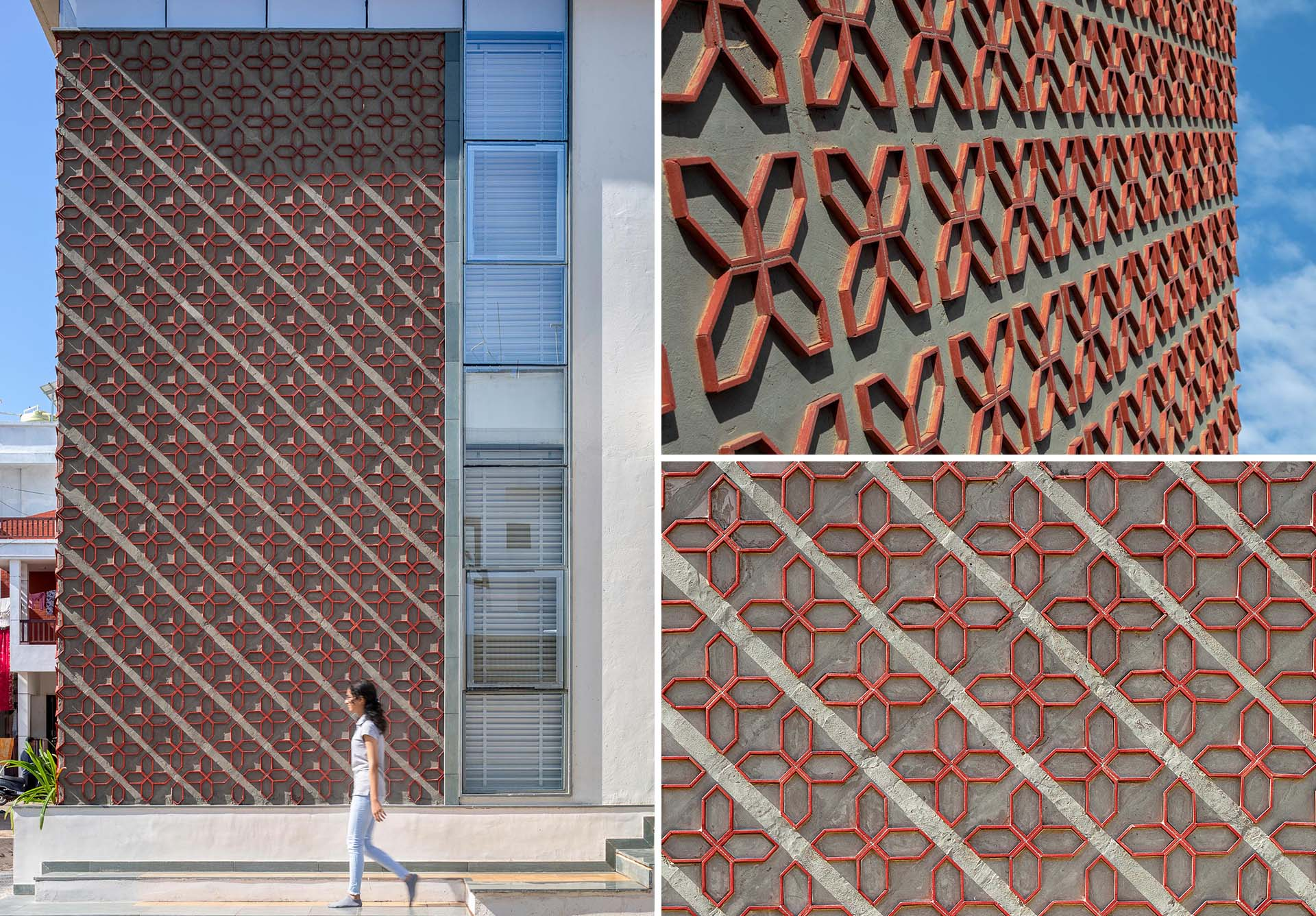 A Patterned Accent Wall Made From Cut Clay Roof Tiles Is Featured On The Exterior Of This New Home