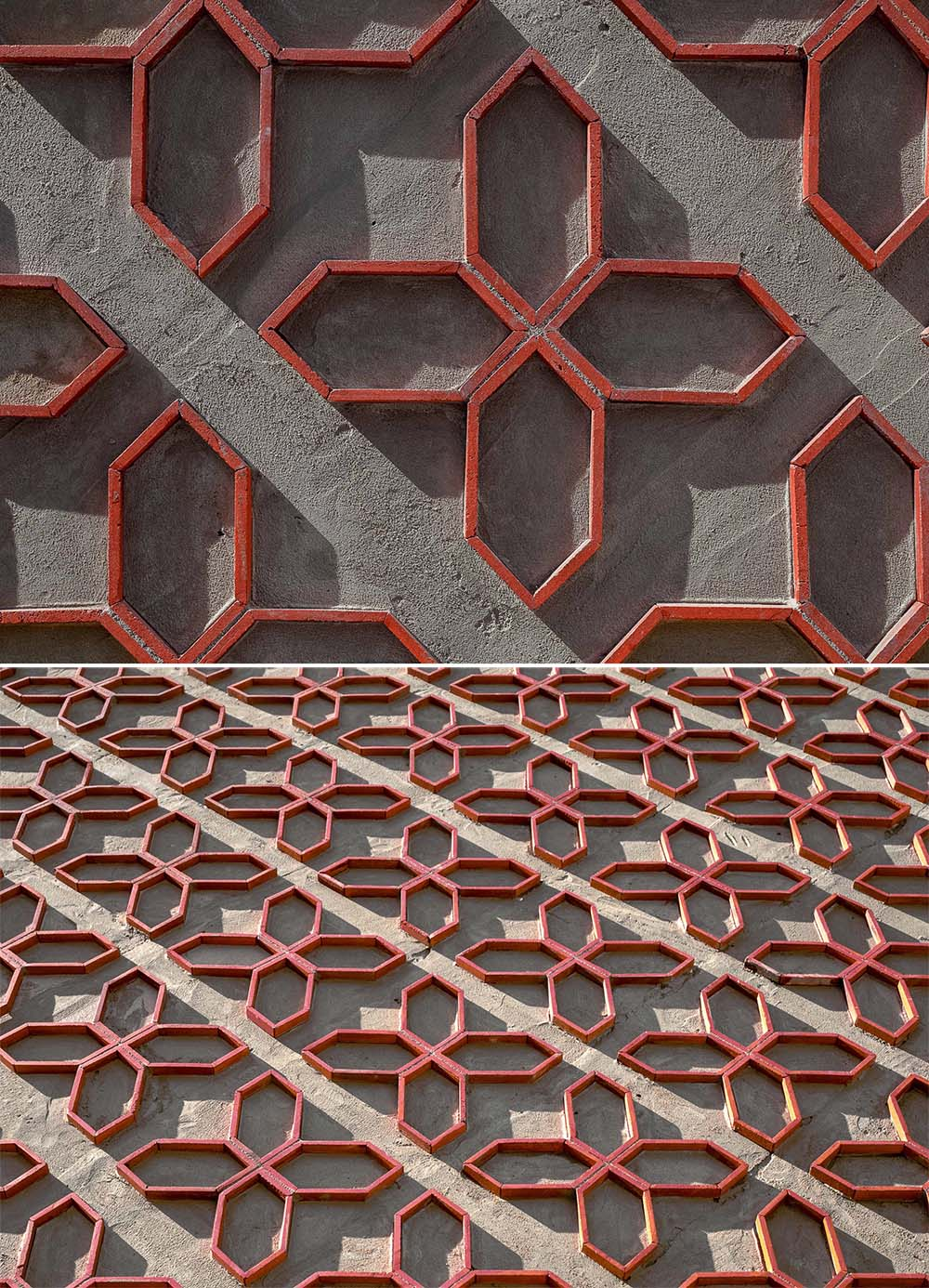 A patterned wall made from cut clay roof tiles.