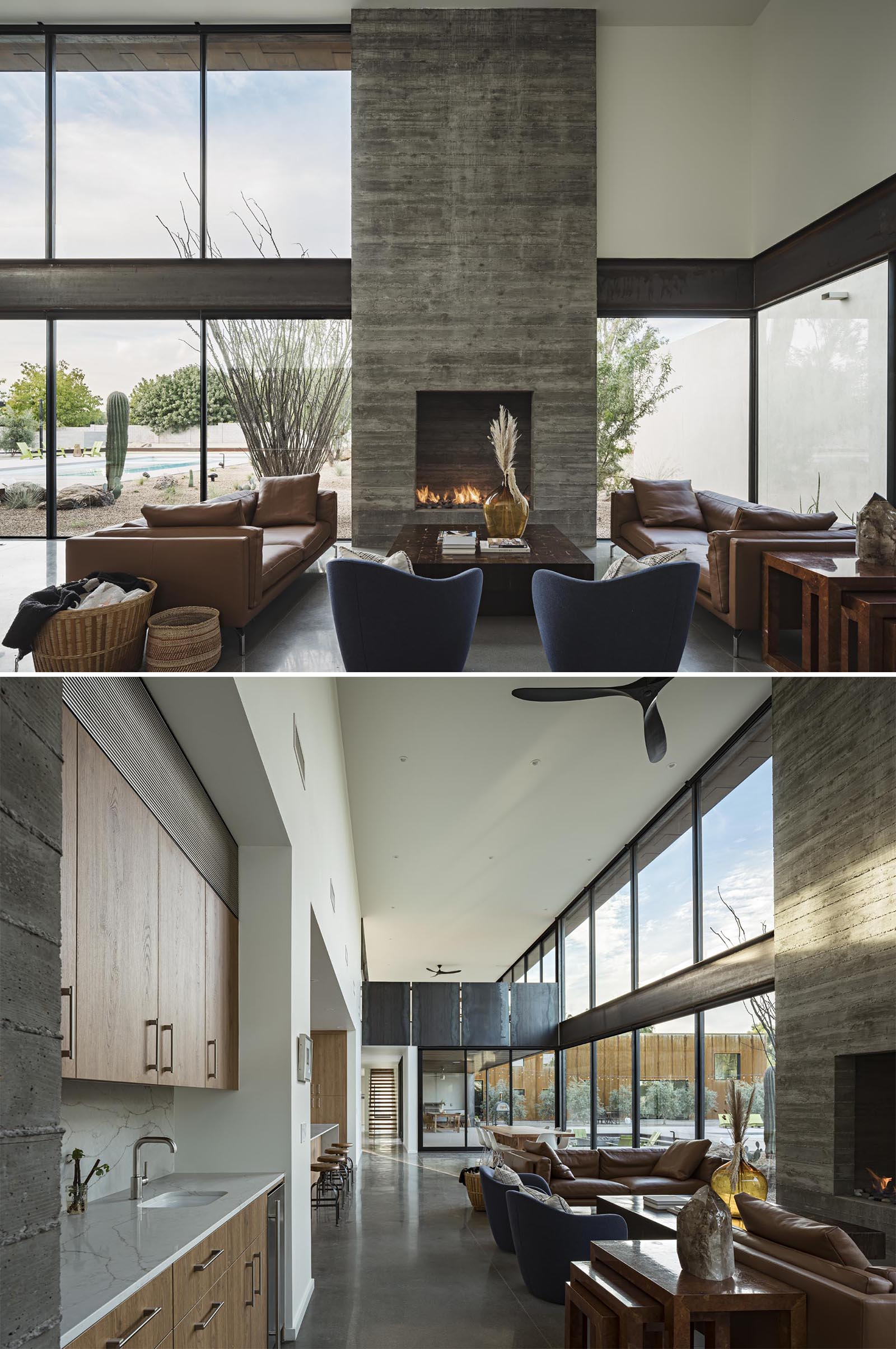 This modern living room has a board-formed concrete fireplace hat draws your eye up to the high ceiling.