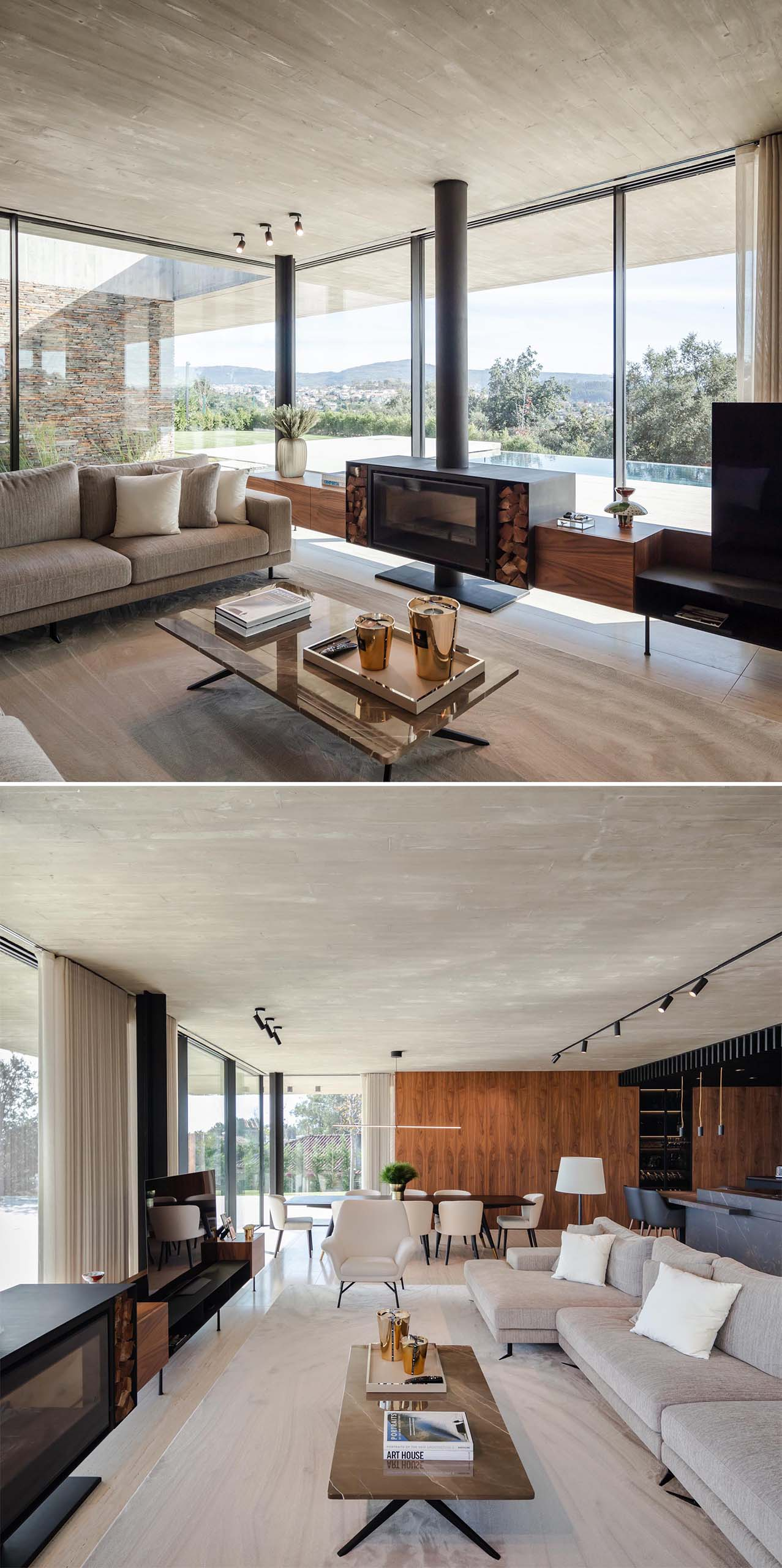 In this modern living room, there's a custom designed fireplace and television stand with wood storage and shelving.