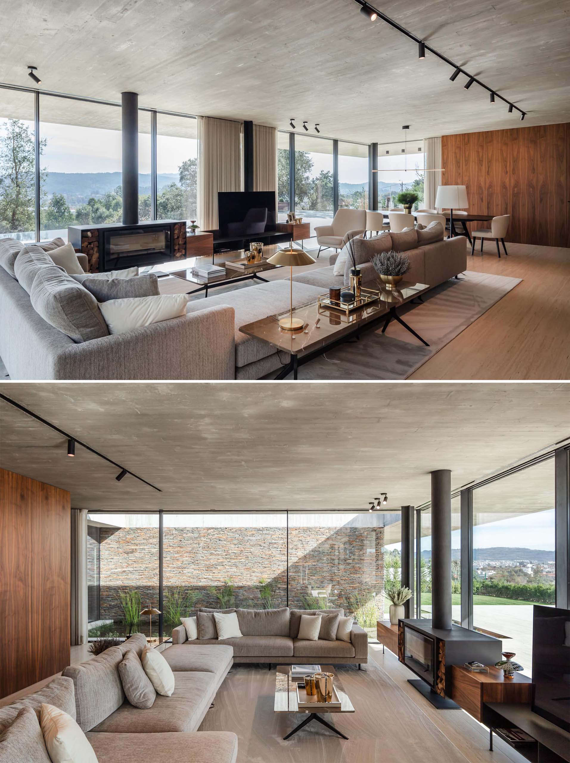 In this modern living room, there's a custom designed fireplace and television stand, that includes firewood storage and shelving underneath the TV.