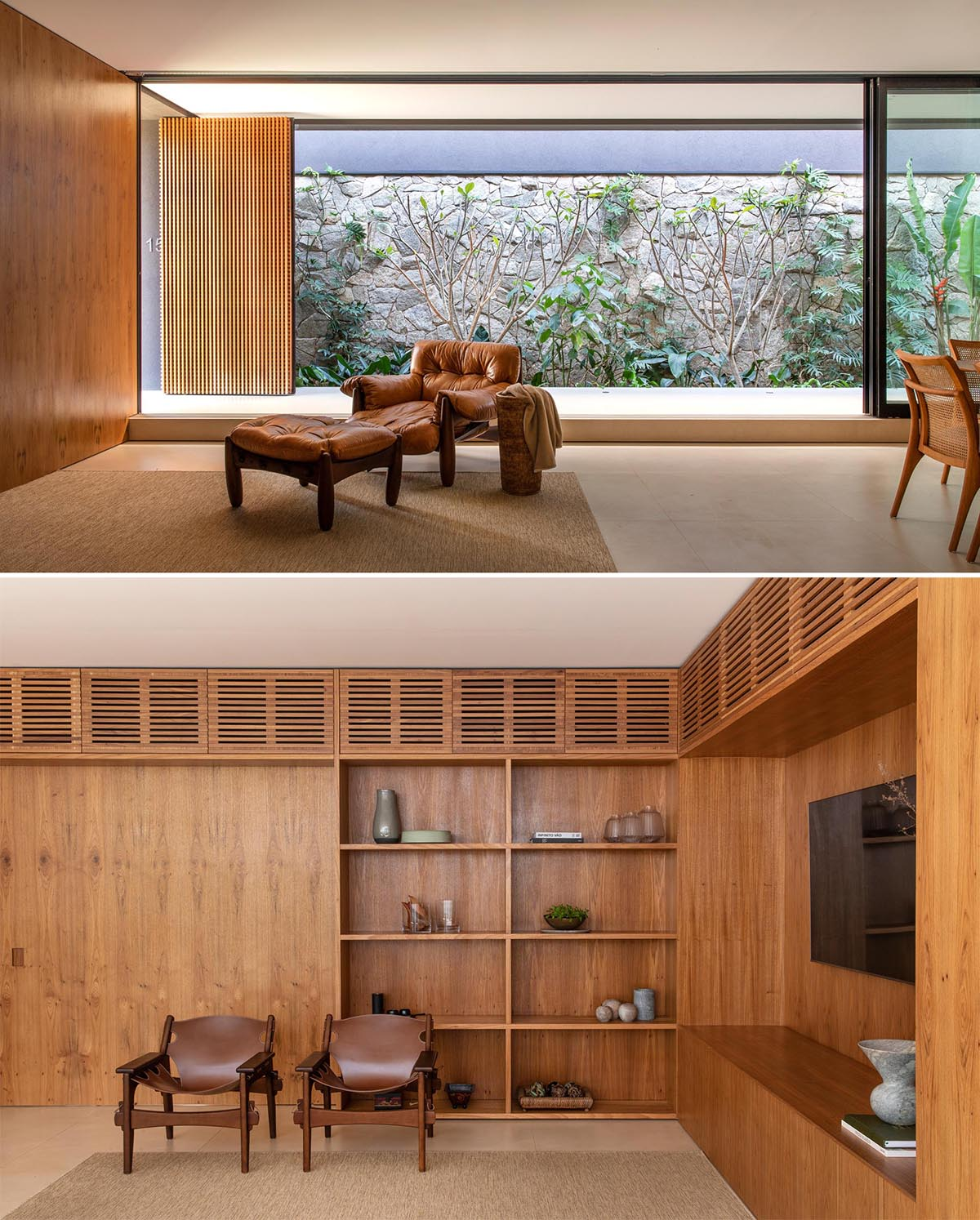 A modern living room with wood walls and built-in shelving.