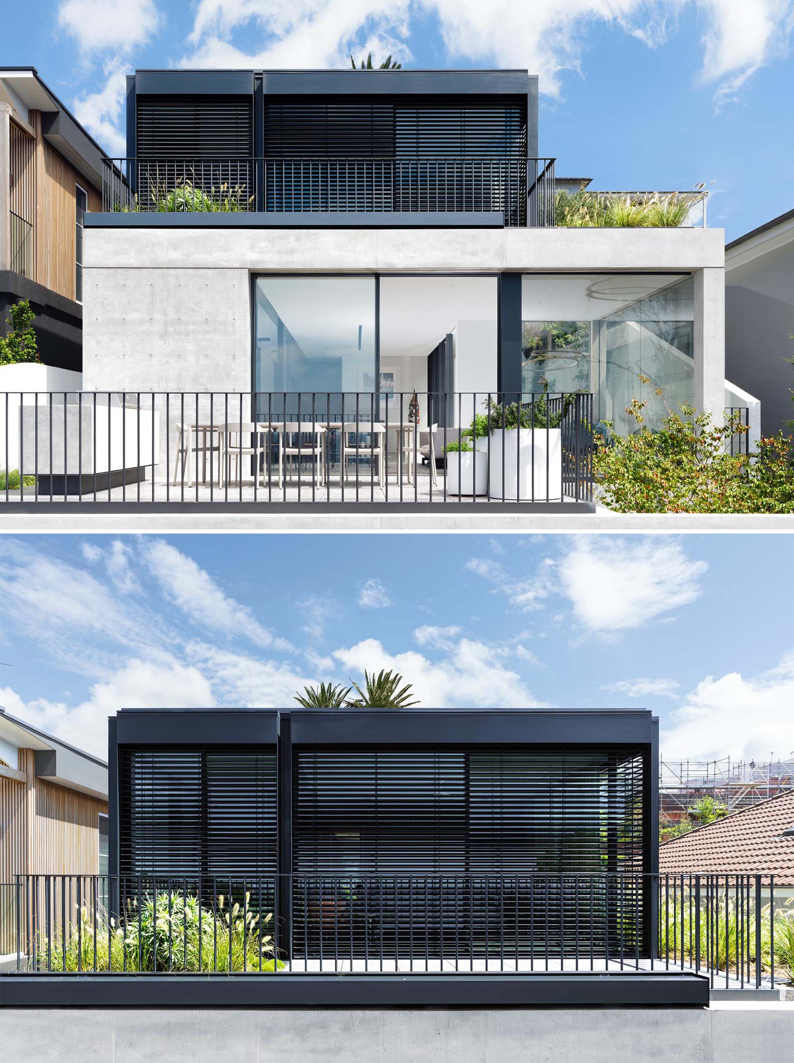This Australian home is designed with a series of terraced floors that climb the steep block from the street.