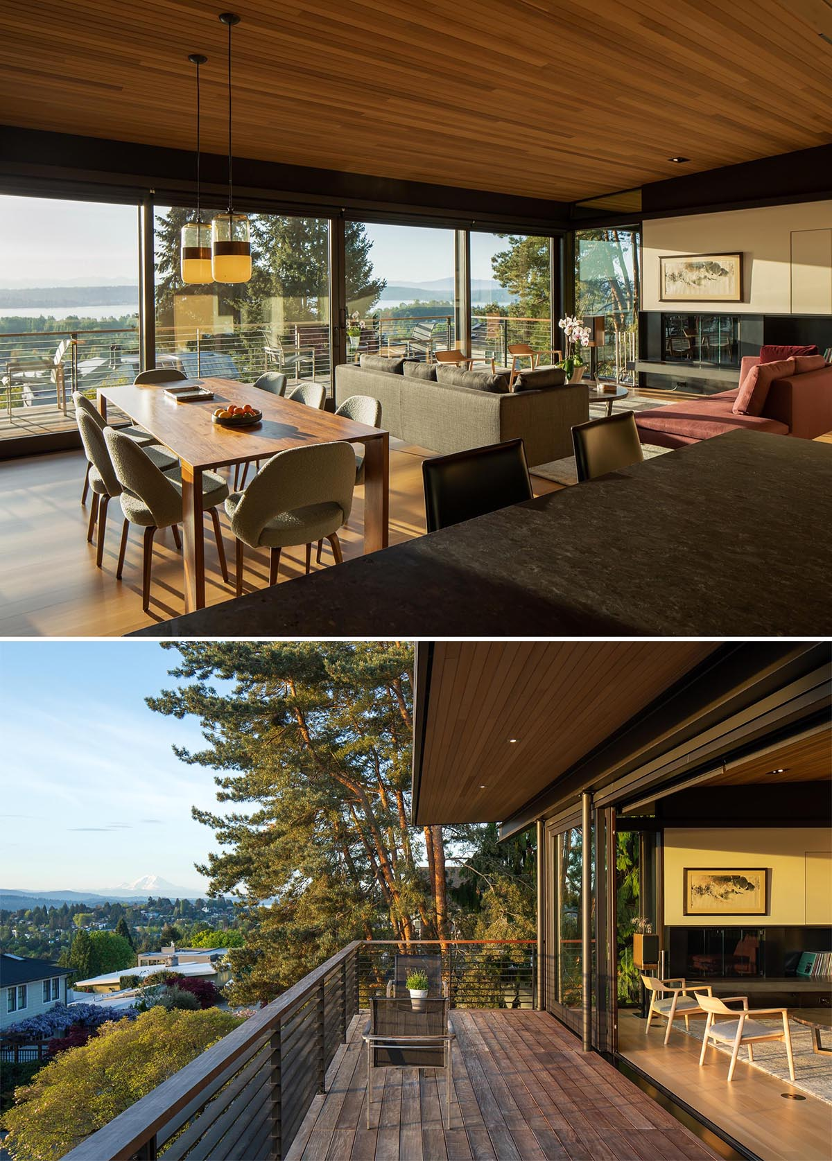 Sliding glass doors open the interior of this modern home to a balcony with expansive views.